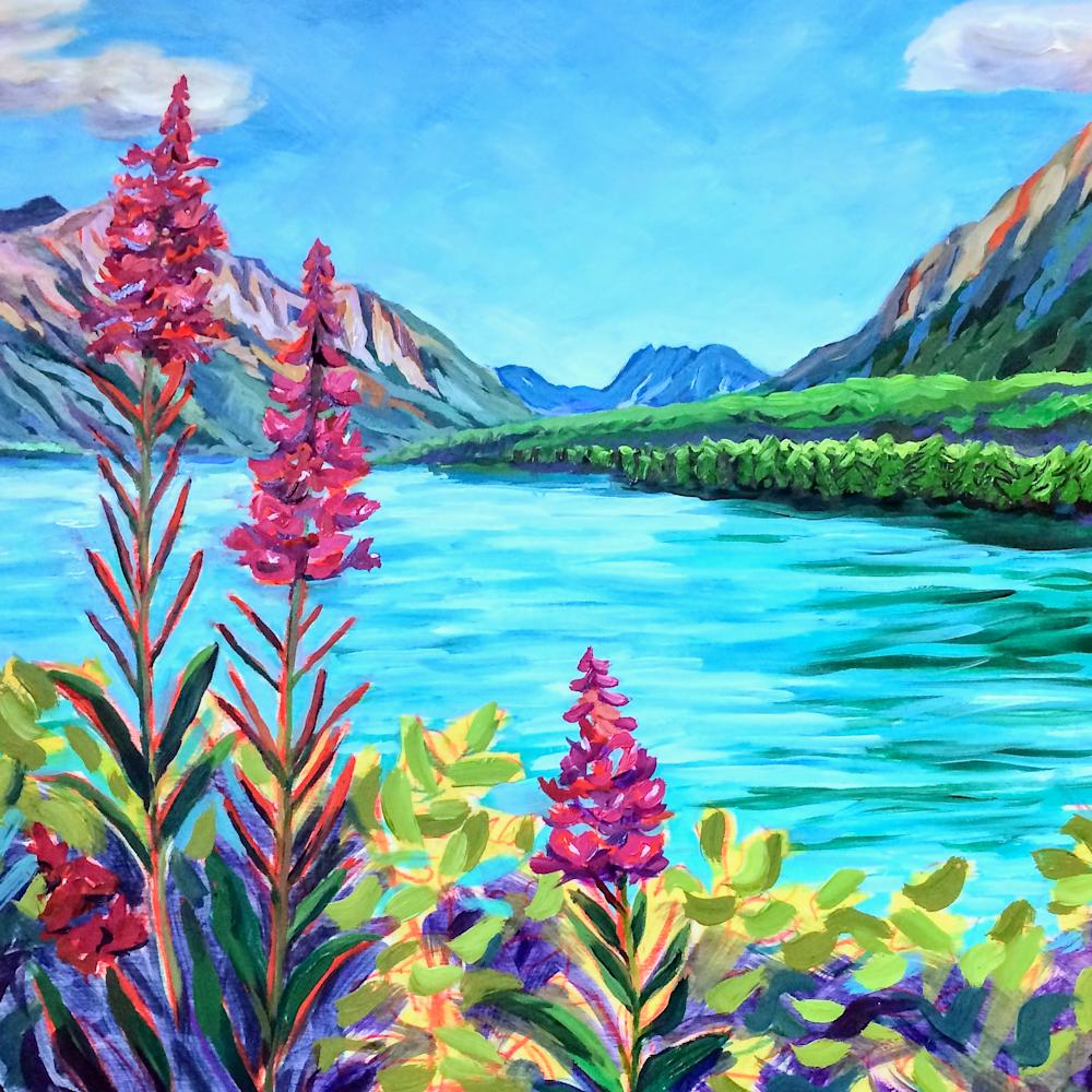 Fireweed on glacier lake e2srpl