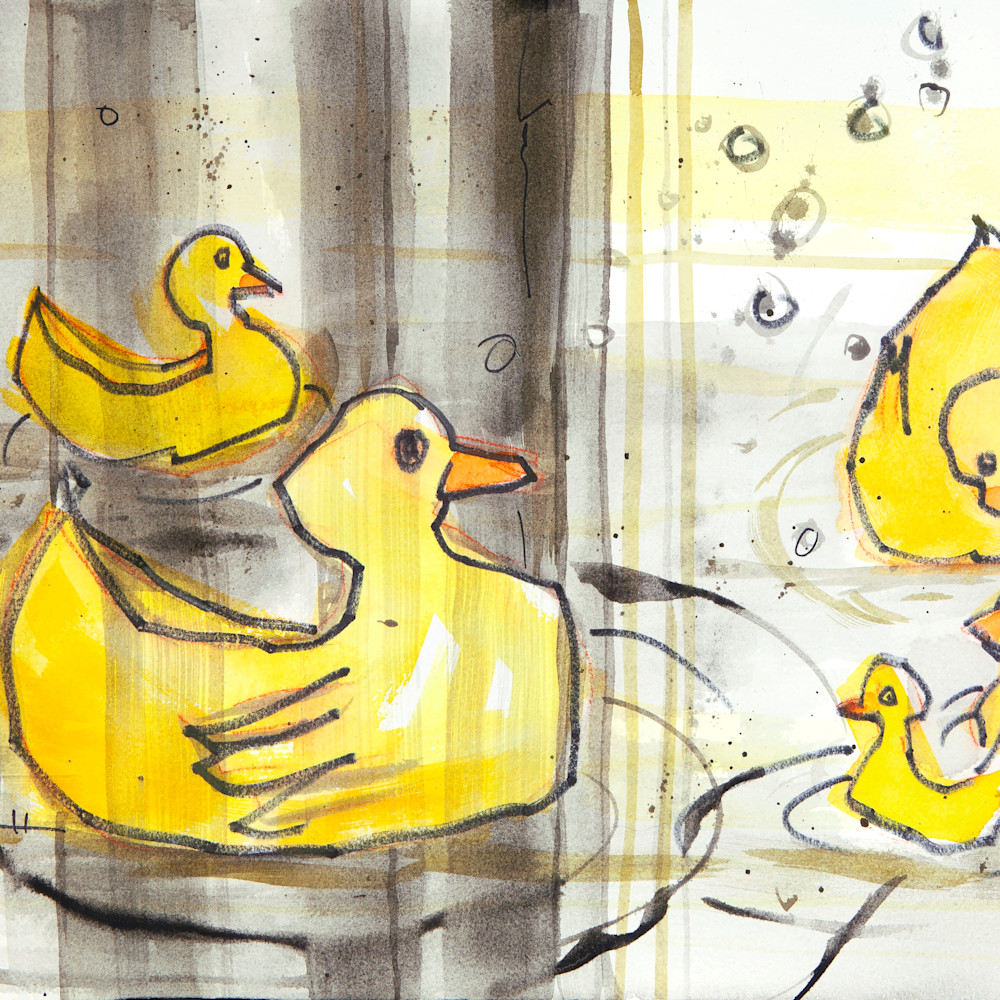 Duckies in bathtub with shower curtain vck79n