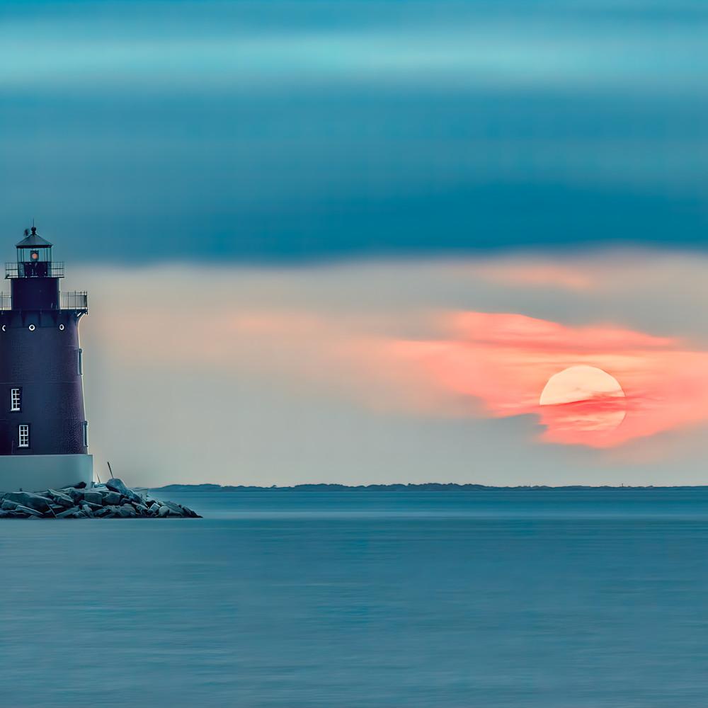 Sun sets behind cape henlopen lighthouse 1 of 1 r1ea18