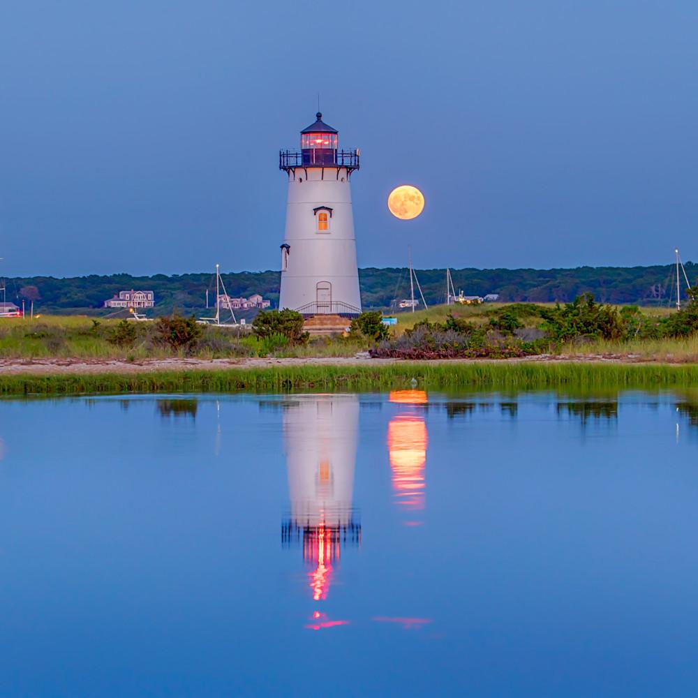Edgartown light summer moon refelction jn6u2c