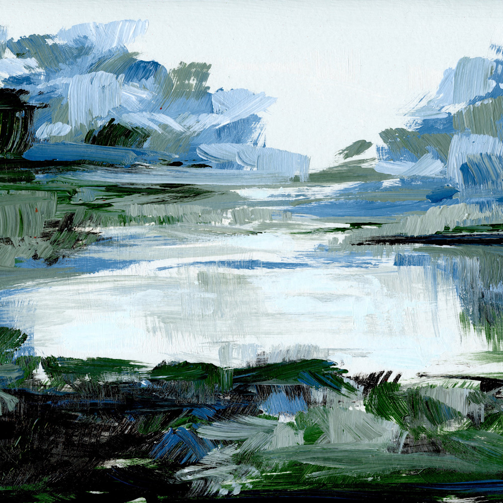 Blue green marsh painting art xhd7hz