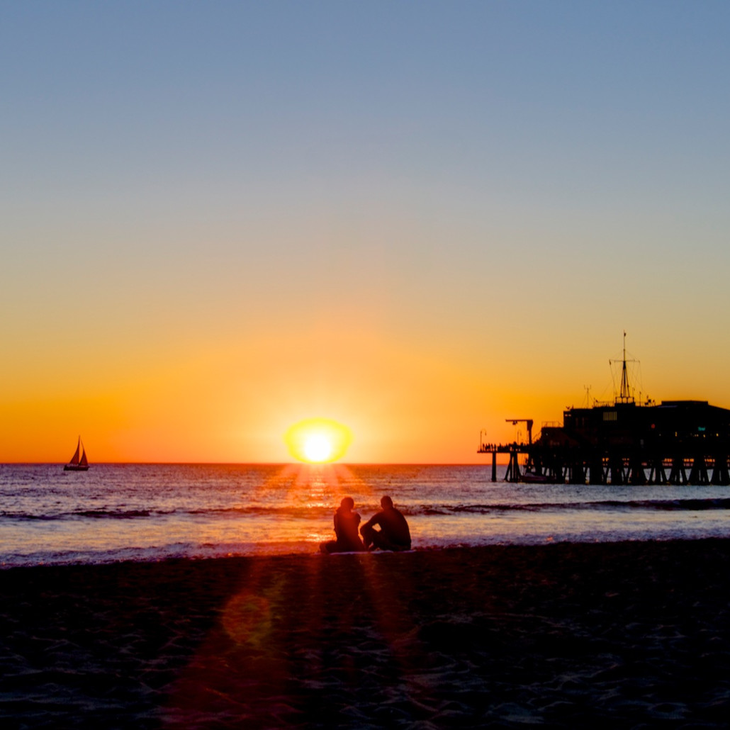 Santa monica sunset los angeles california usa beach landscape photo print a8fpiu