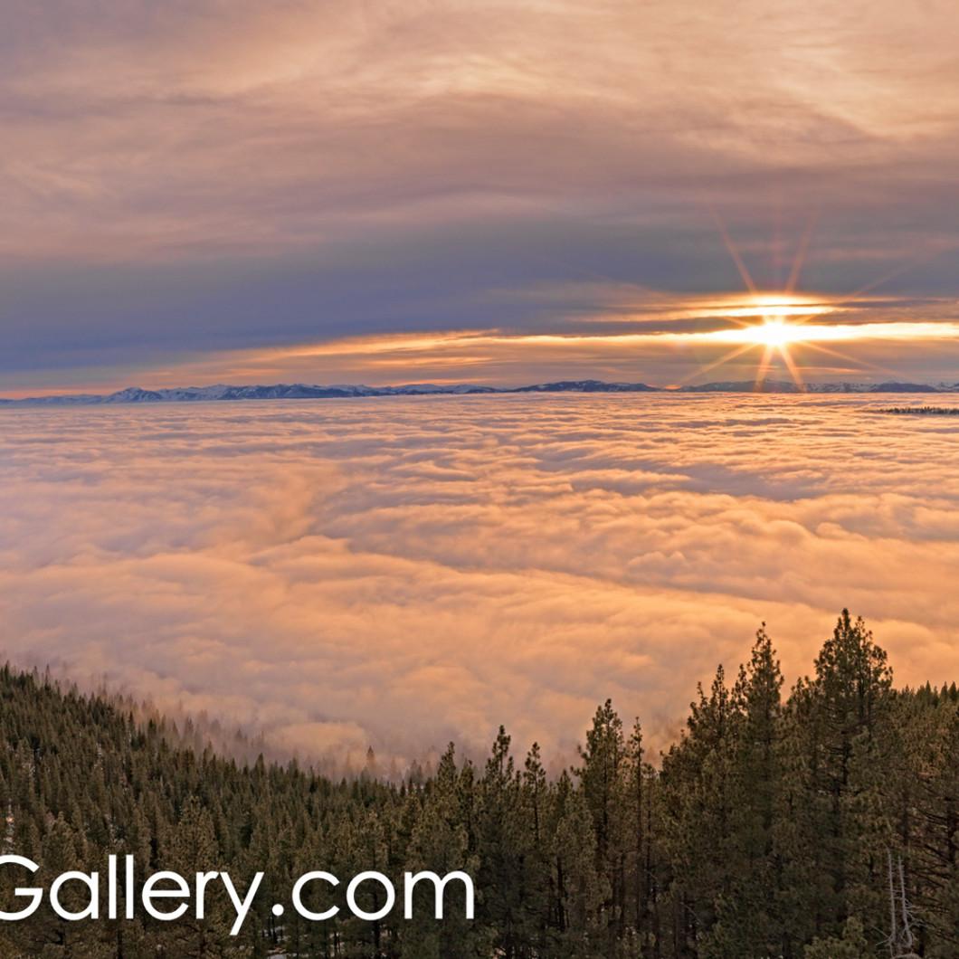 Sunset over fog lake tahoe qvnidn