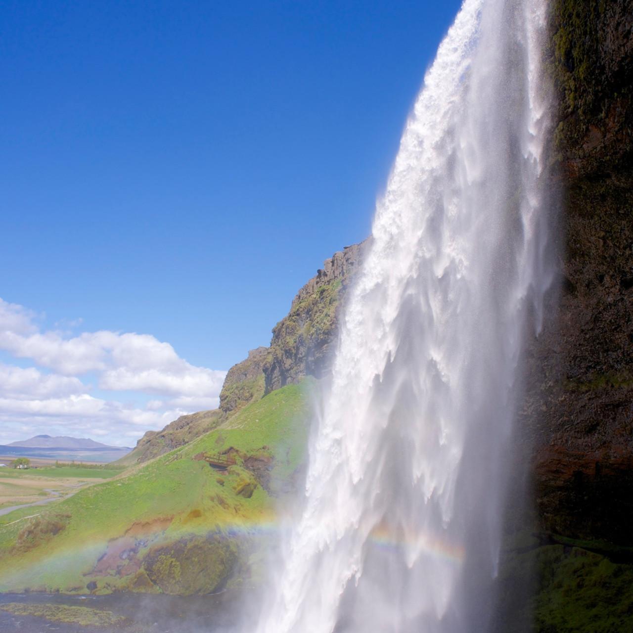 Rainbow falls seljalandsfoss waterfall near reykjavik iceland byglkd