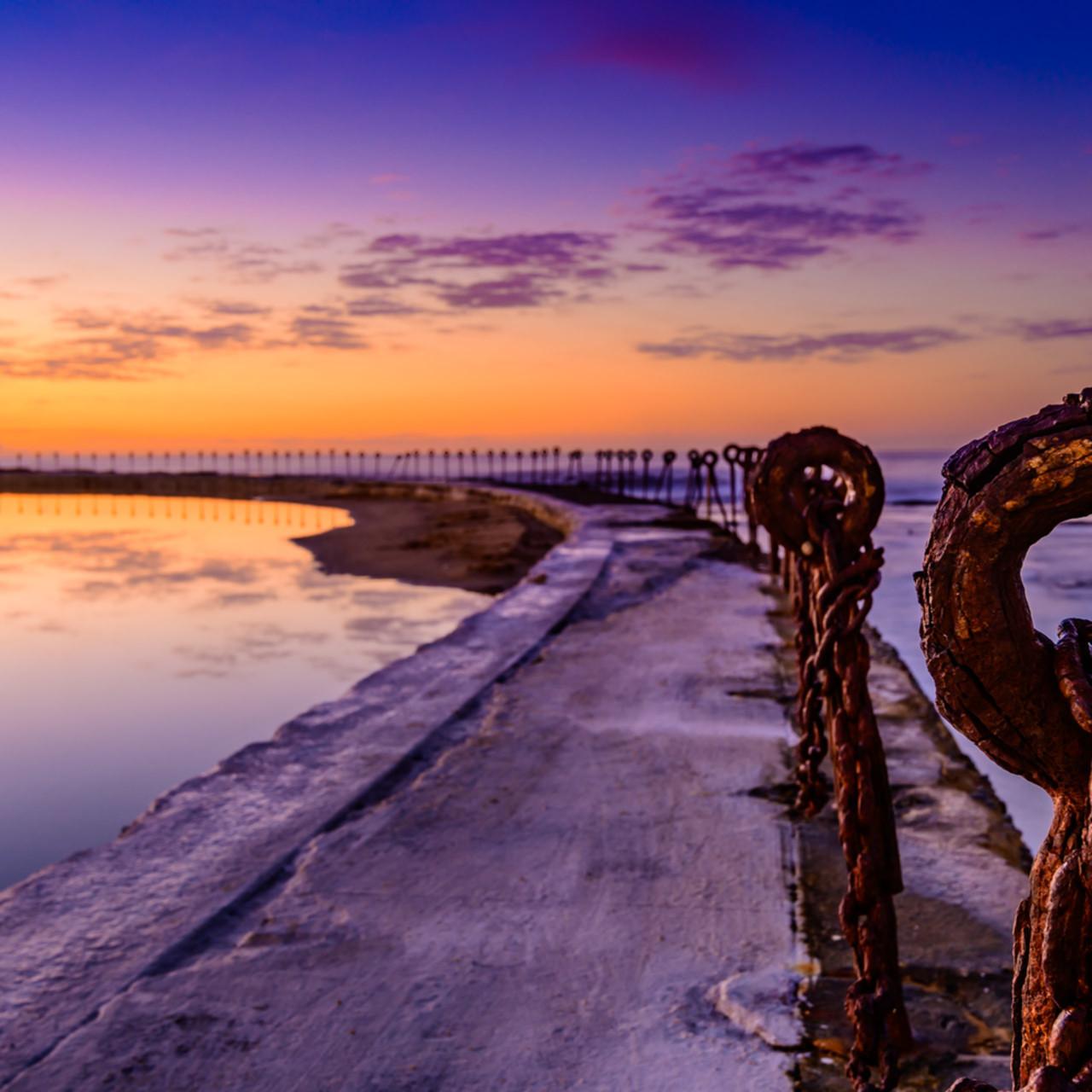 Eye of newy canoe pool newcastle ocean baths nsw australia sunrise fkqtlc