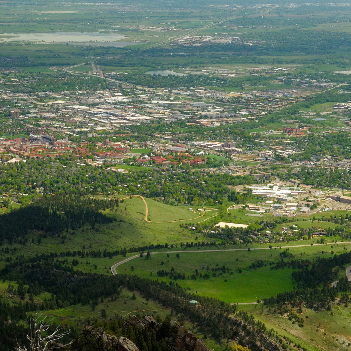 Looking down on boulder from the summit of bear peak sk2il2