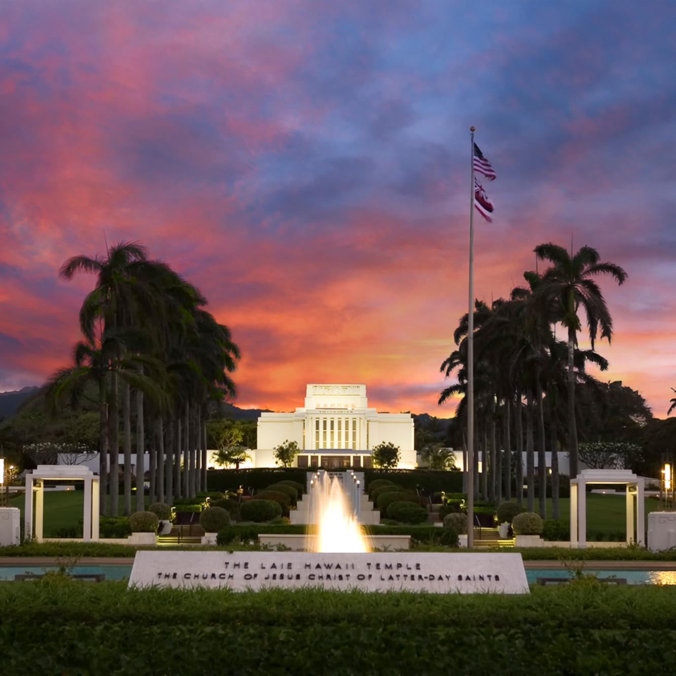 Robert a boyd laie hawaii temple sunset ff0pmv