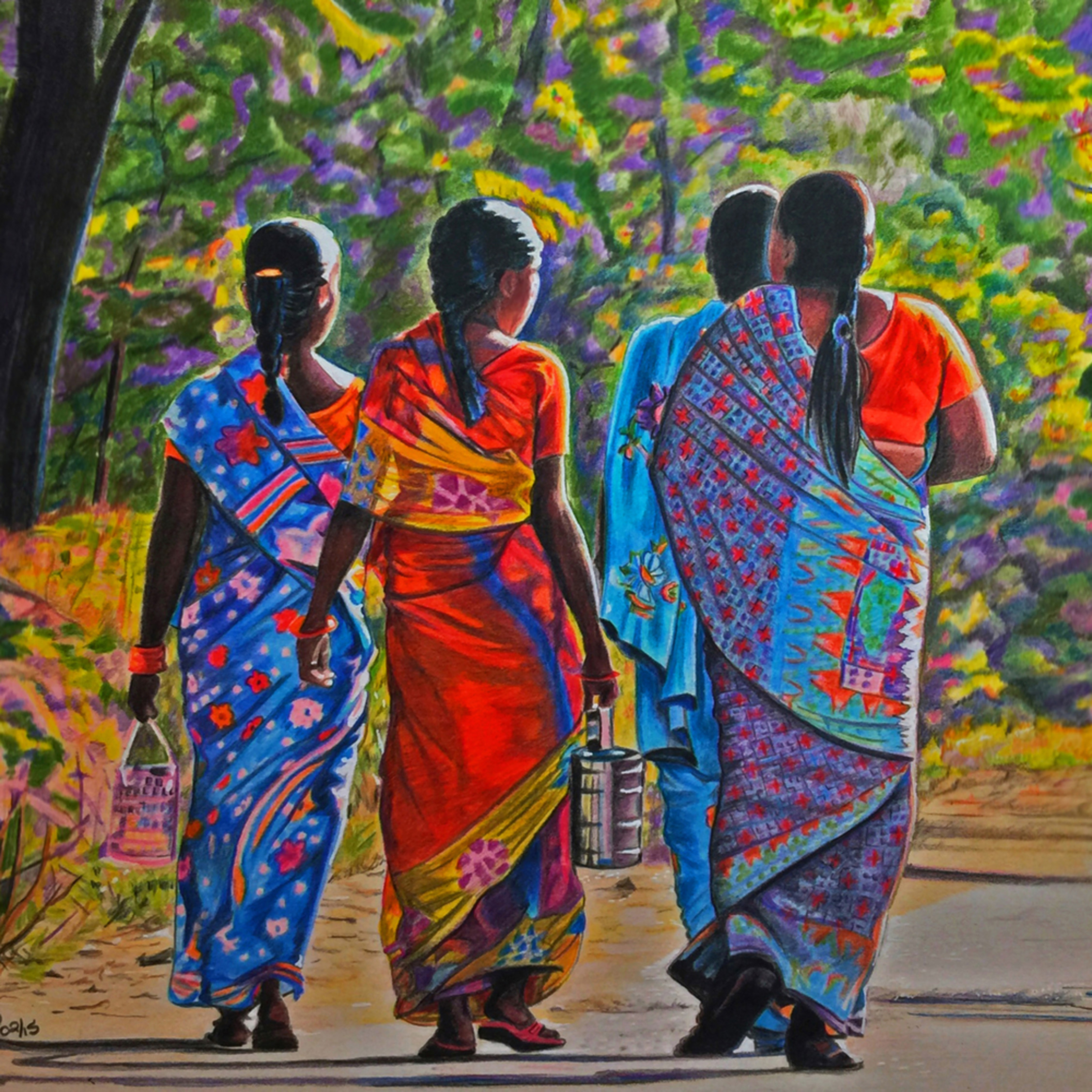 Wendylayne walking in india coloredpencil giclee print gjj1jg