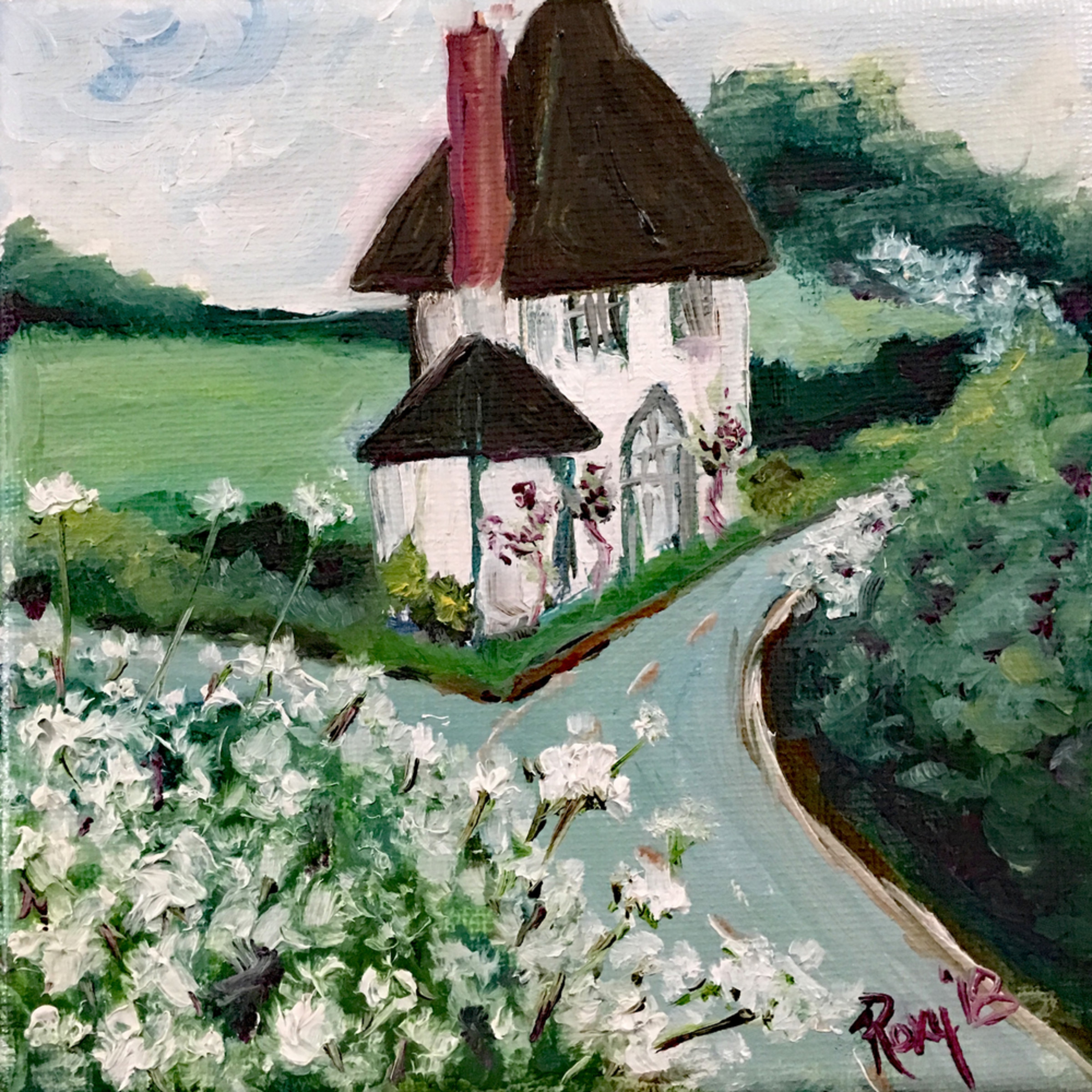 English countryside white cottage db58jt