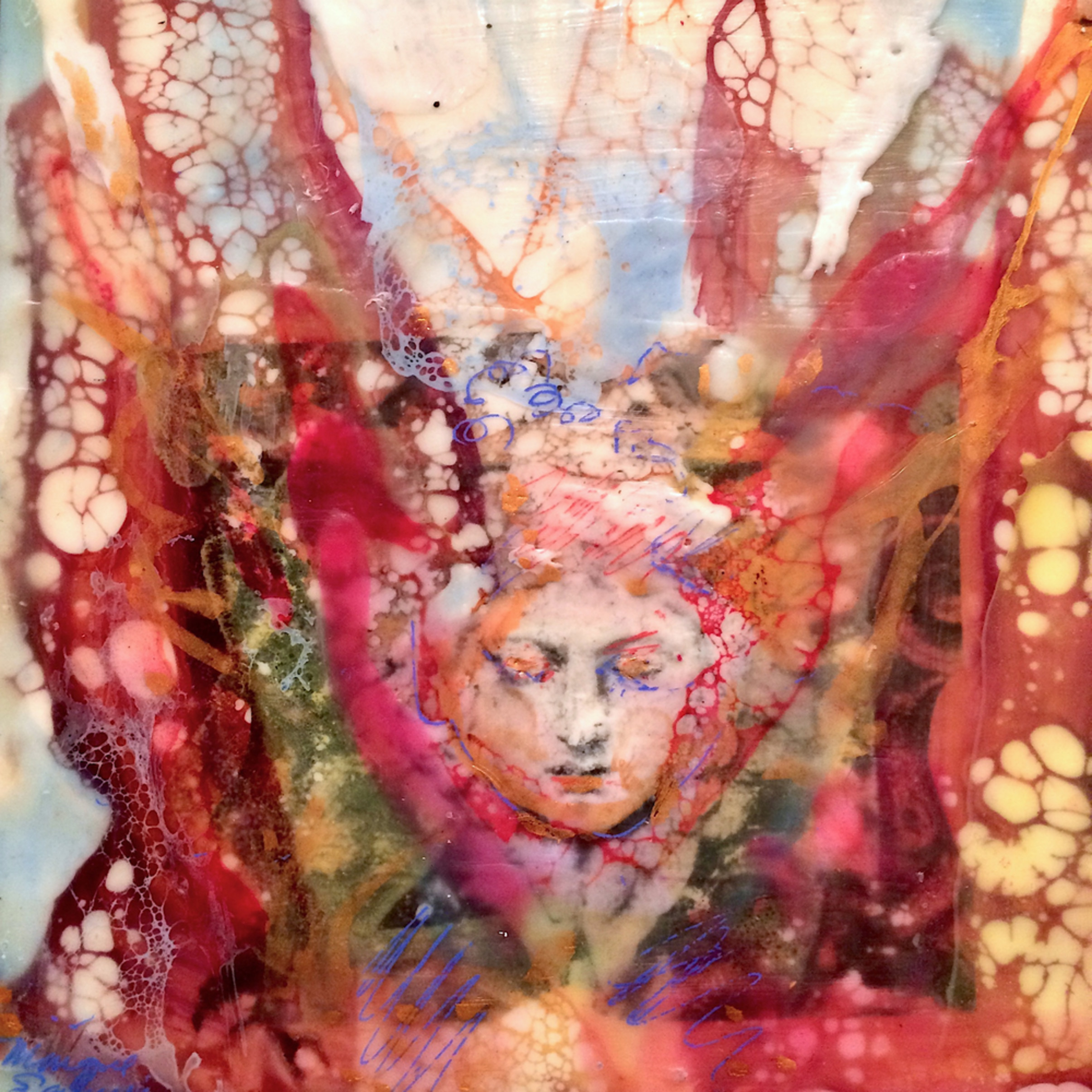 Love conquers 2 encaustic wax and mixed media on panel 6x6 wnm5hd