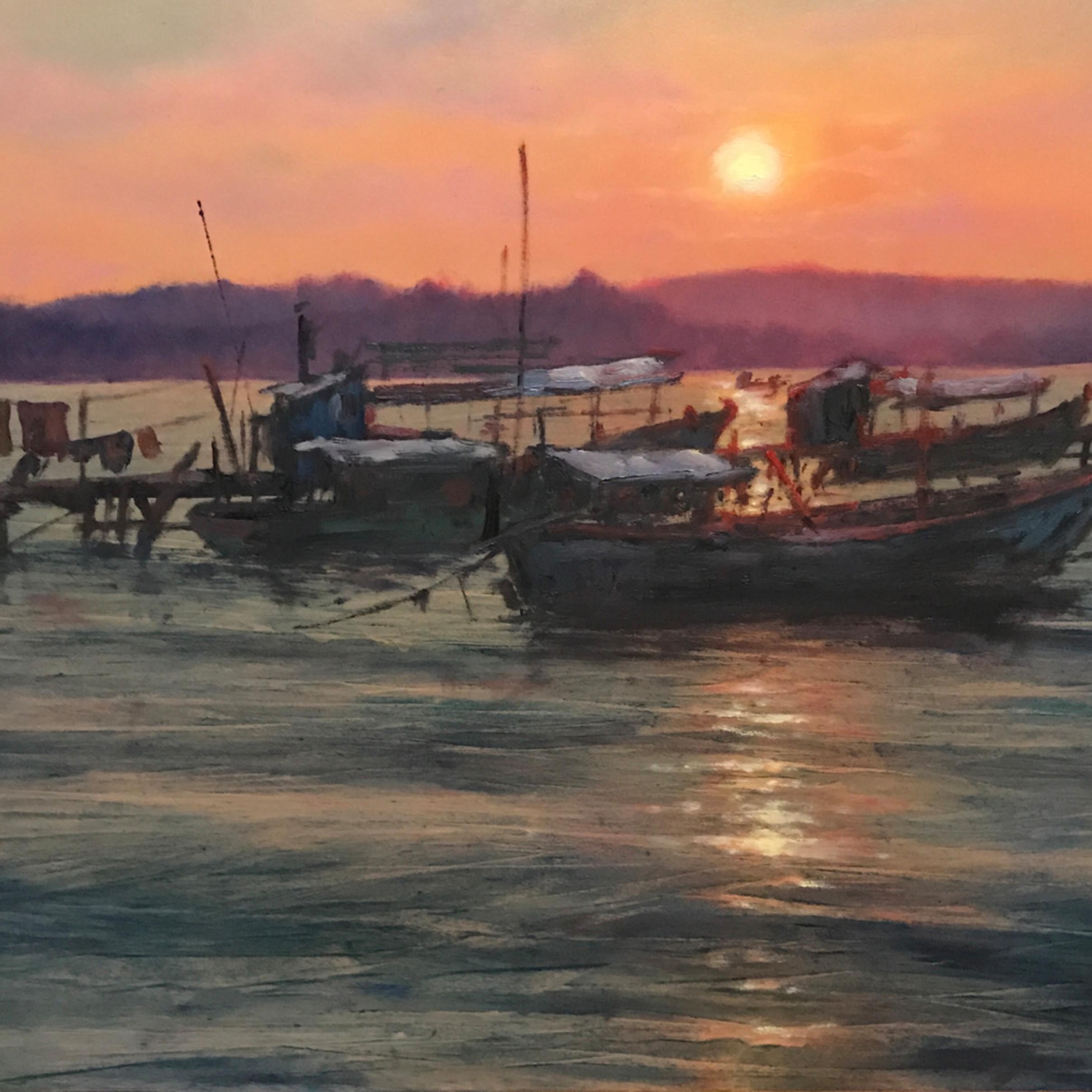 201709 large cambodian boats michaelorwick oils 20x30 uozfgv
