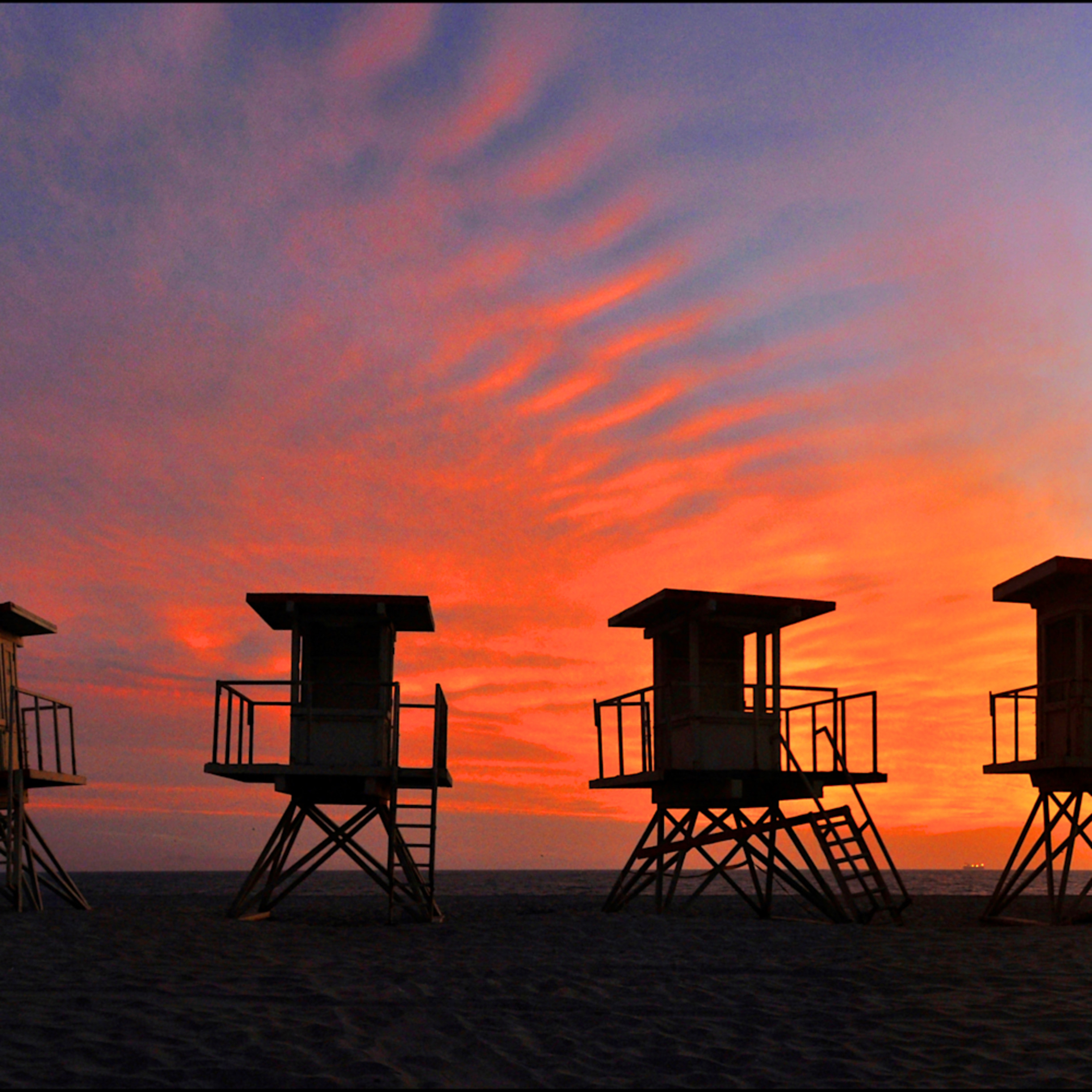 Hunting beach lifeguard stands panorama fgmocw
