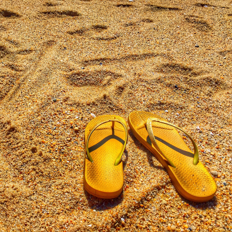 Flip flops on the beach zpwexk