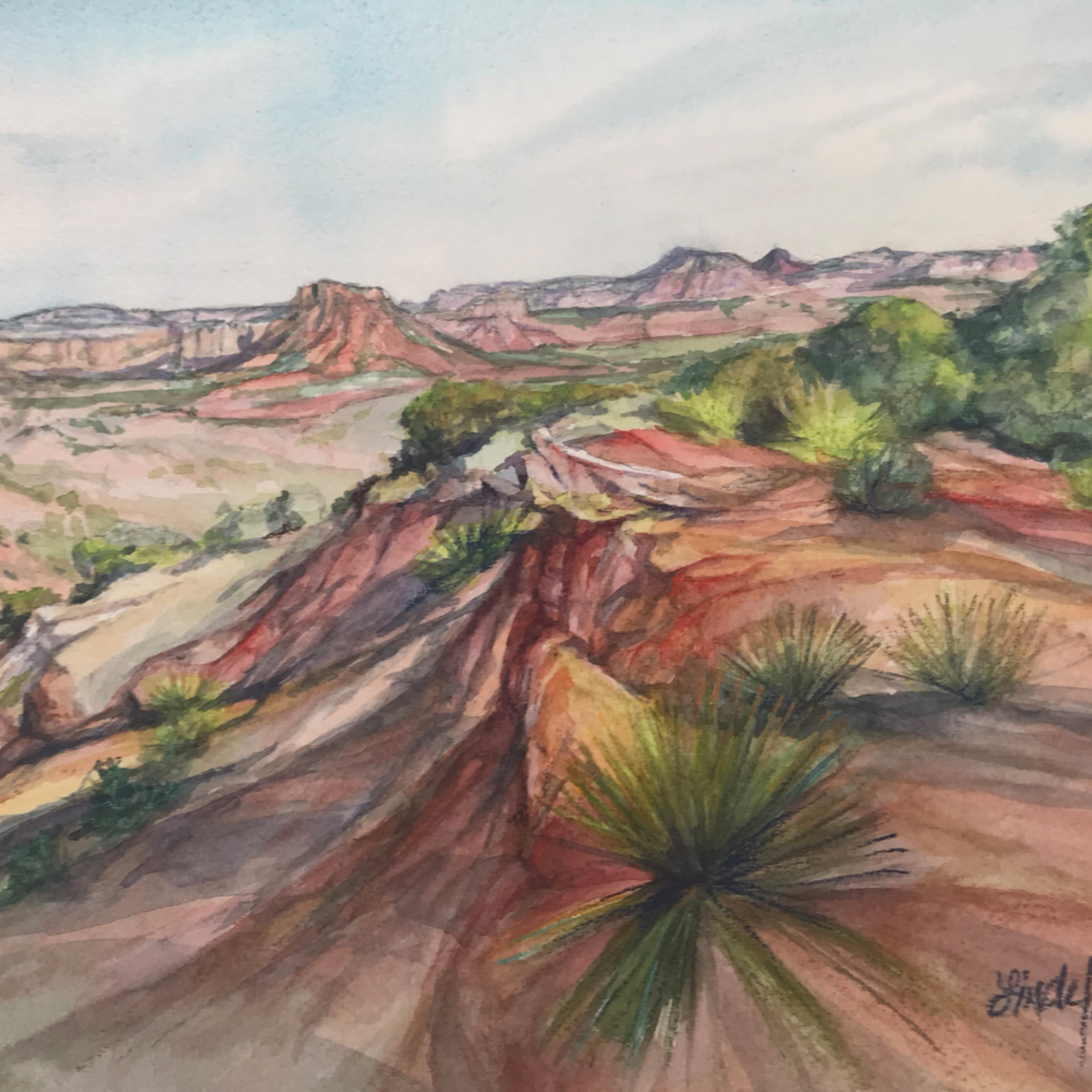 Canyon heat 9x12 watercolor lindy cook severns v3qxm0