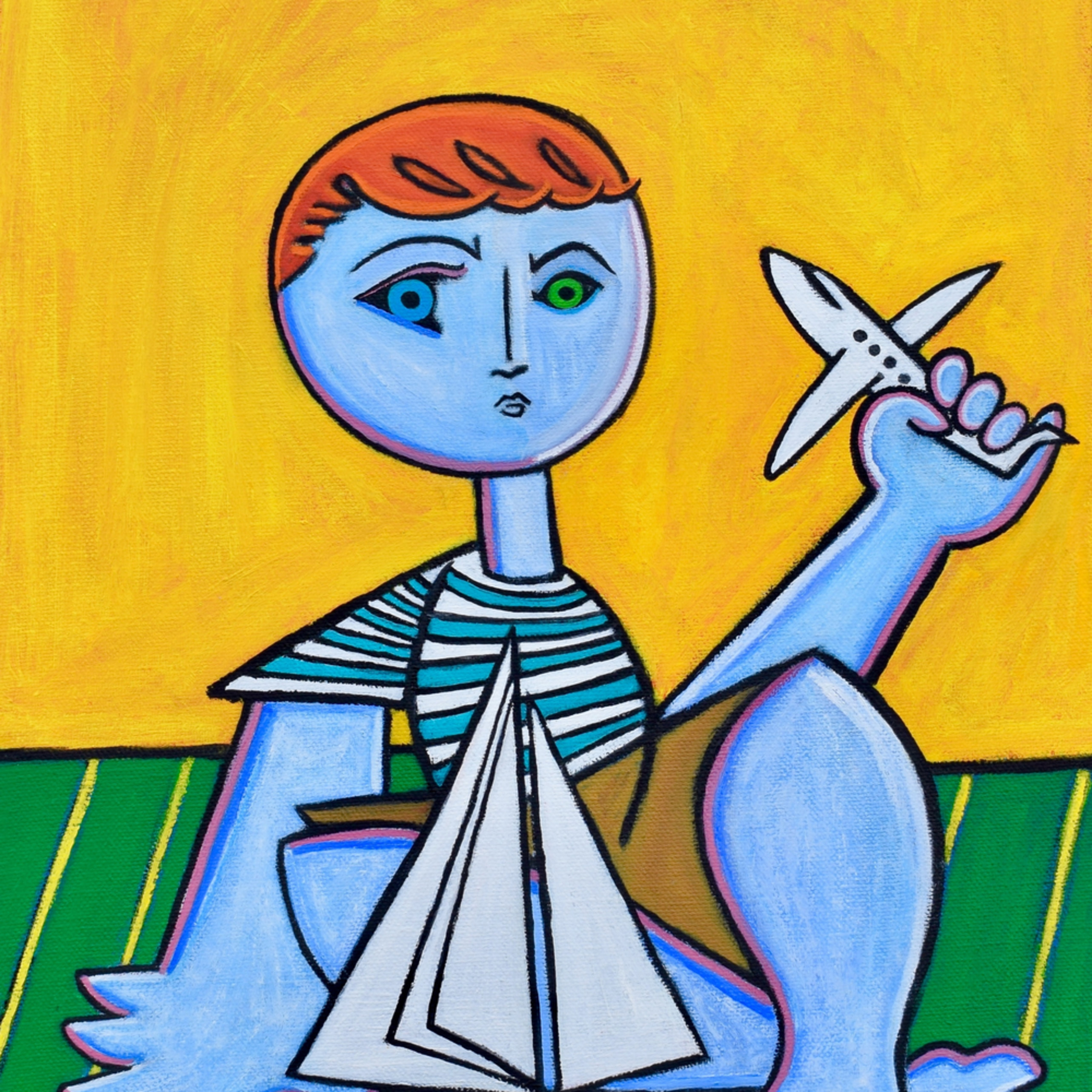 Boy with boat and plane painting paul zepeda wetpaintnyc vcicxj