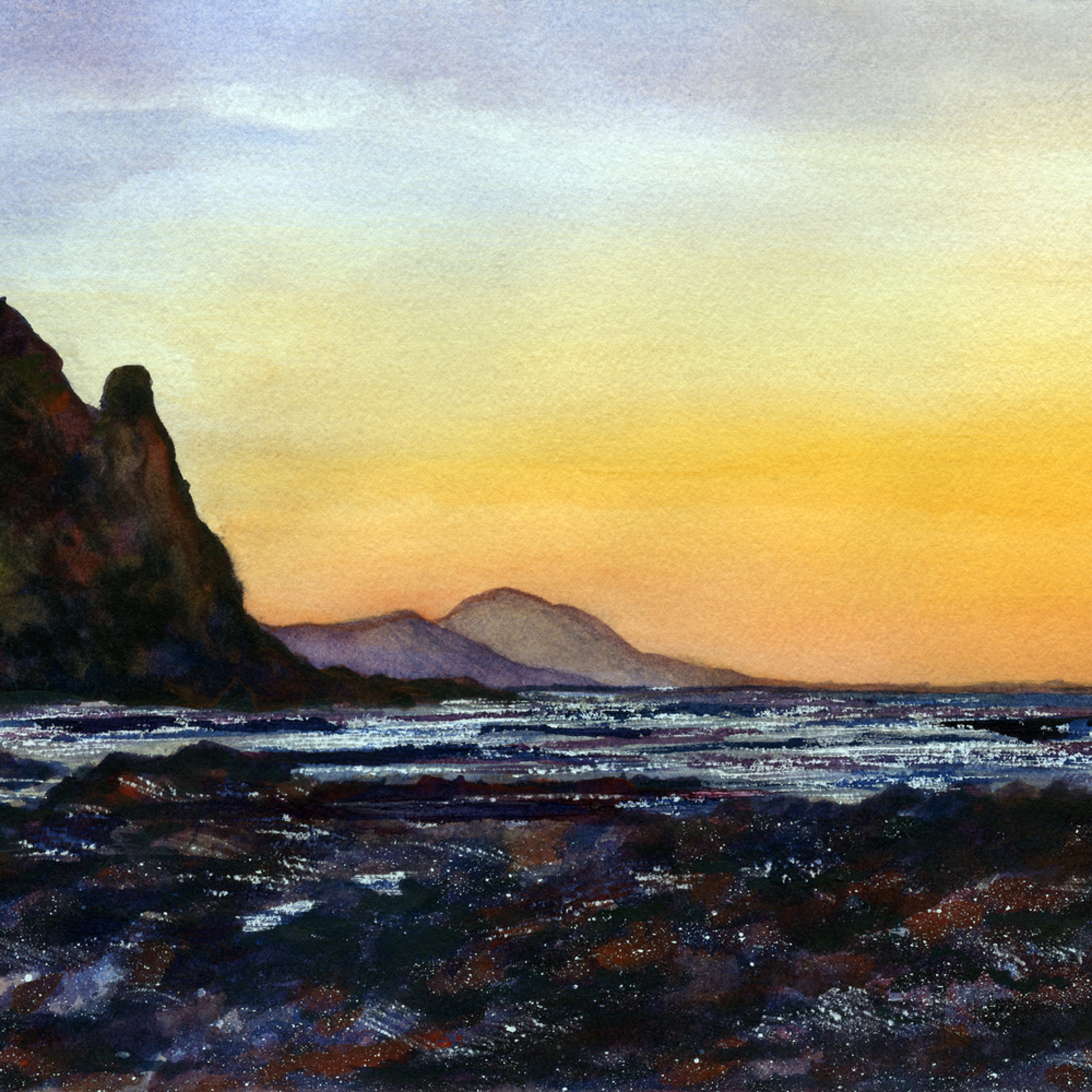 Sunset at inishowen   watercolour on panel   8.5 22 x 17.75 22 rptfja