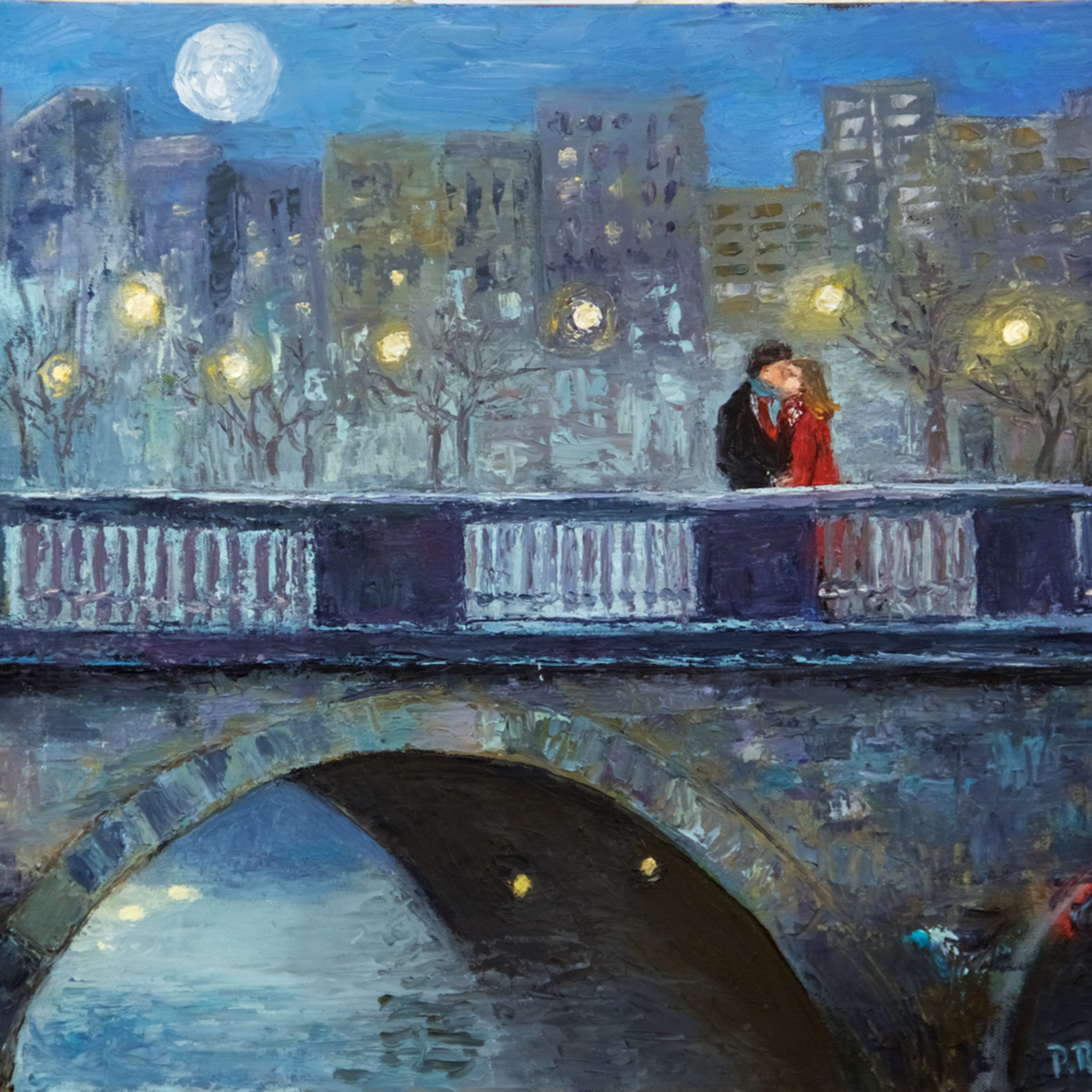 Lovers kiss on dublin bridge us7fxm