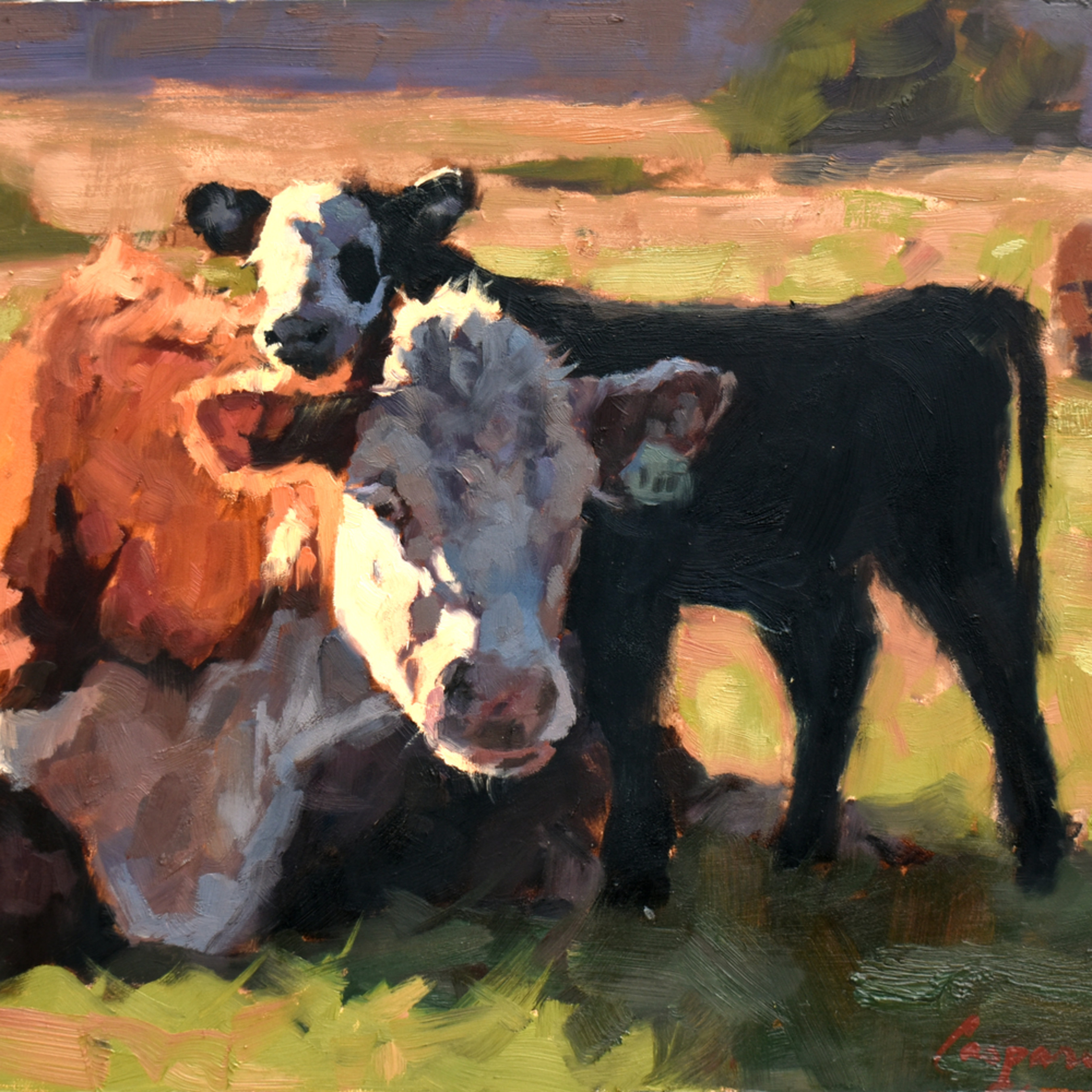 Cow and calf 11x14 oil 2020 hsweog