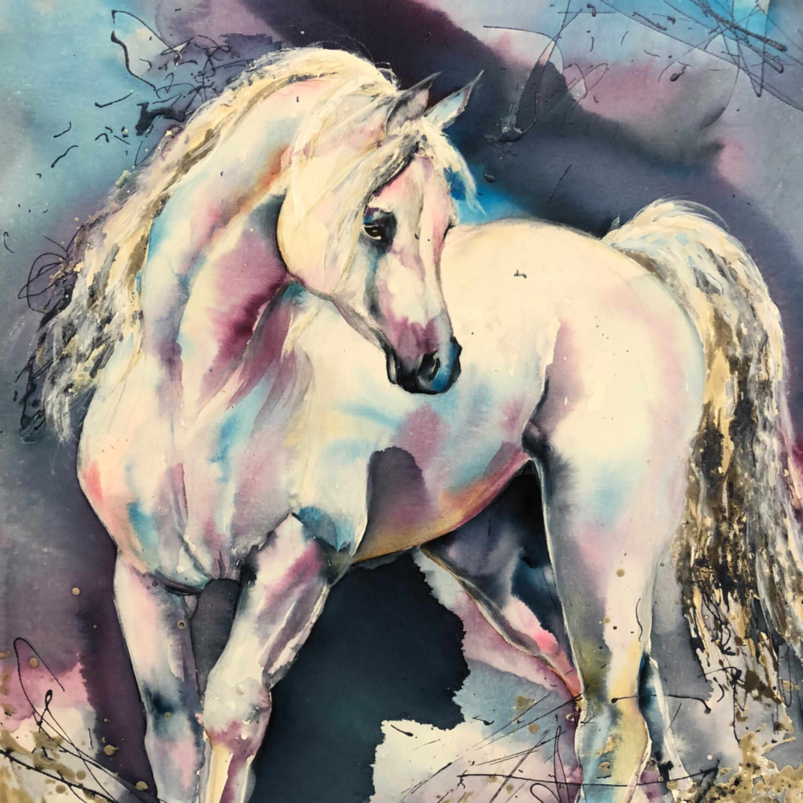 White horse splash signed hweh5b