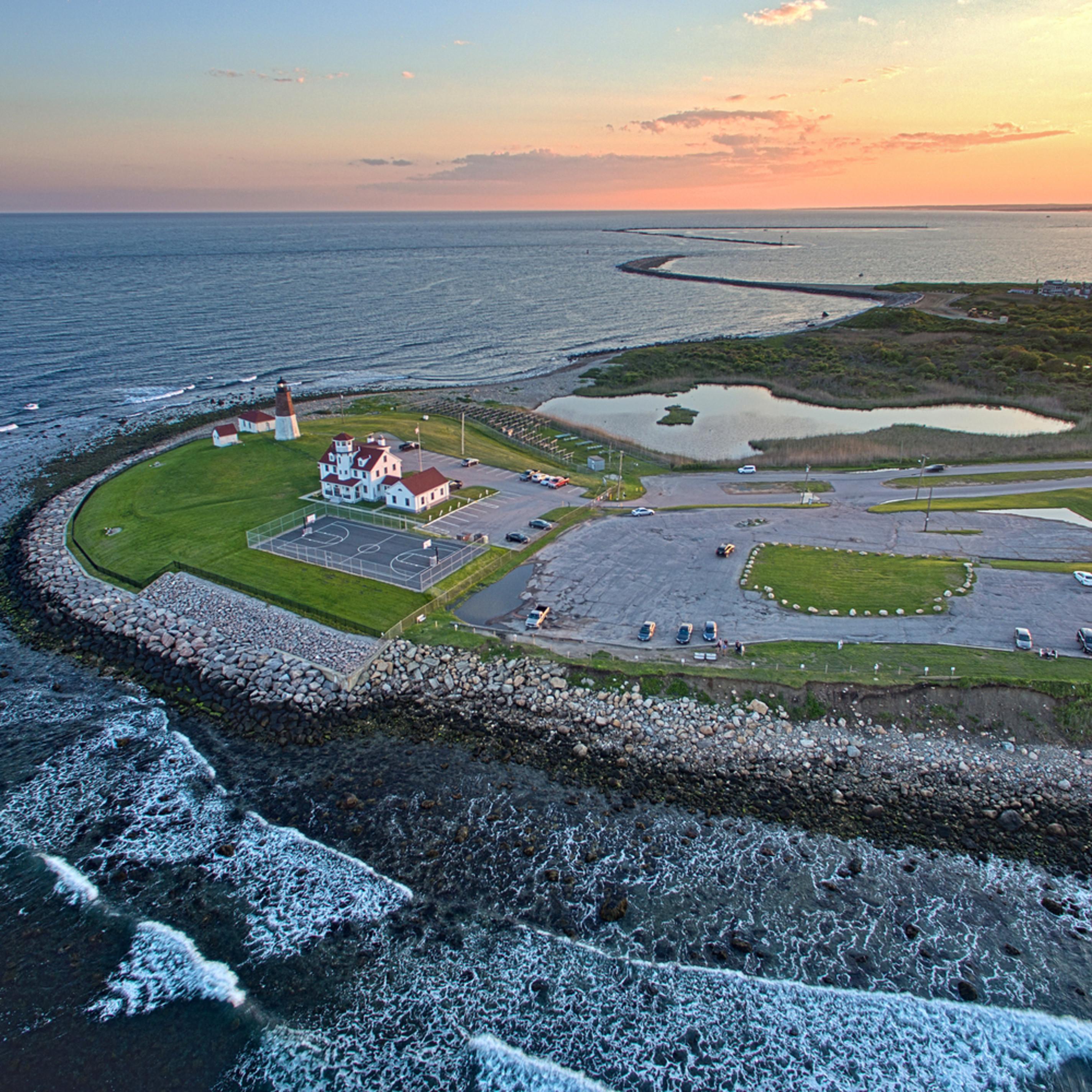 Pt judith lighthouse aerial sunset 2 il8vzz