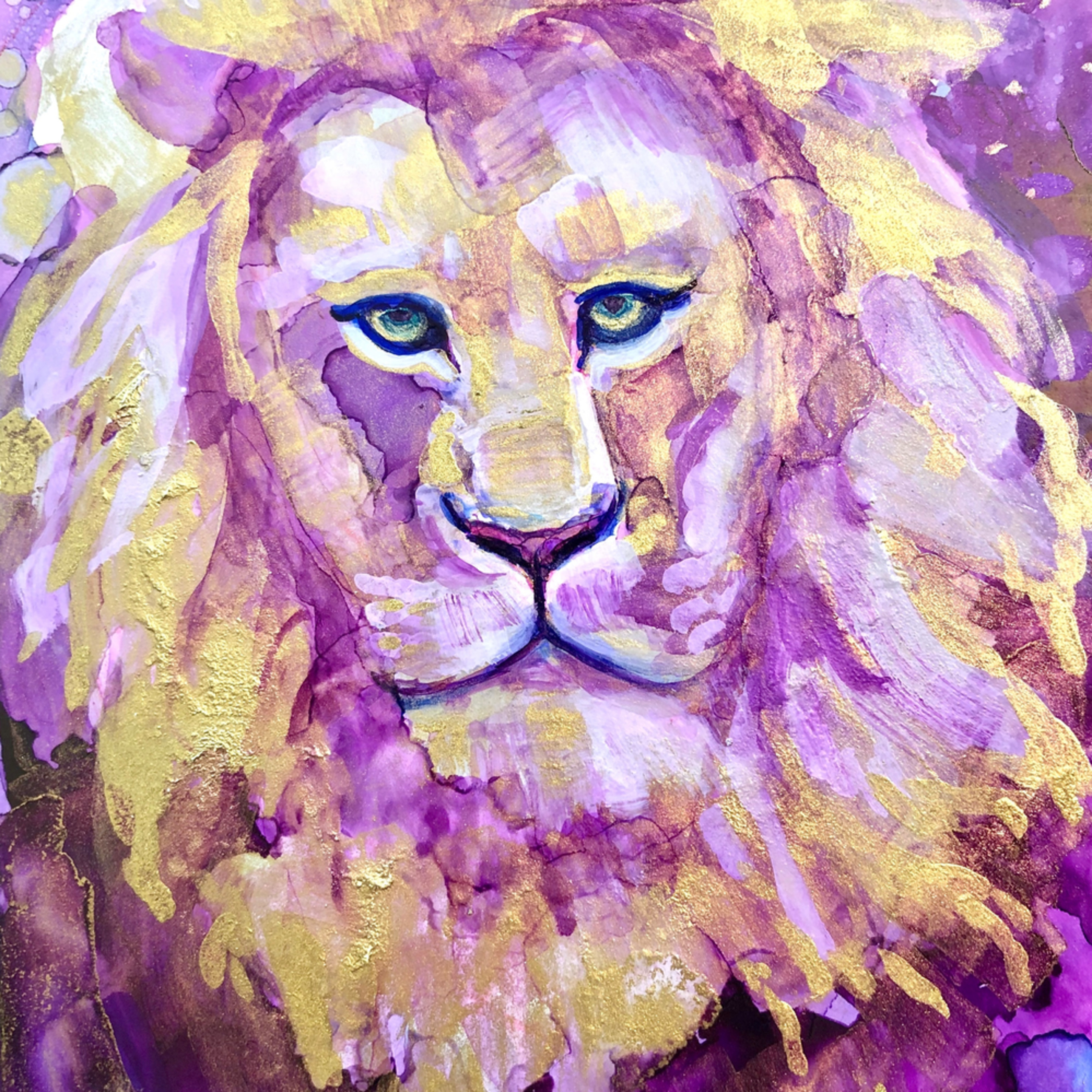 Ready to roar 15 miracles of the magnificent alcohol ink on panel 7x5 x0zvkz