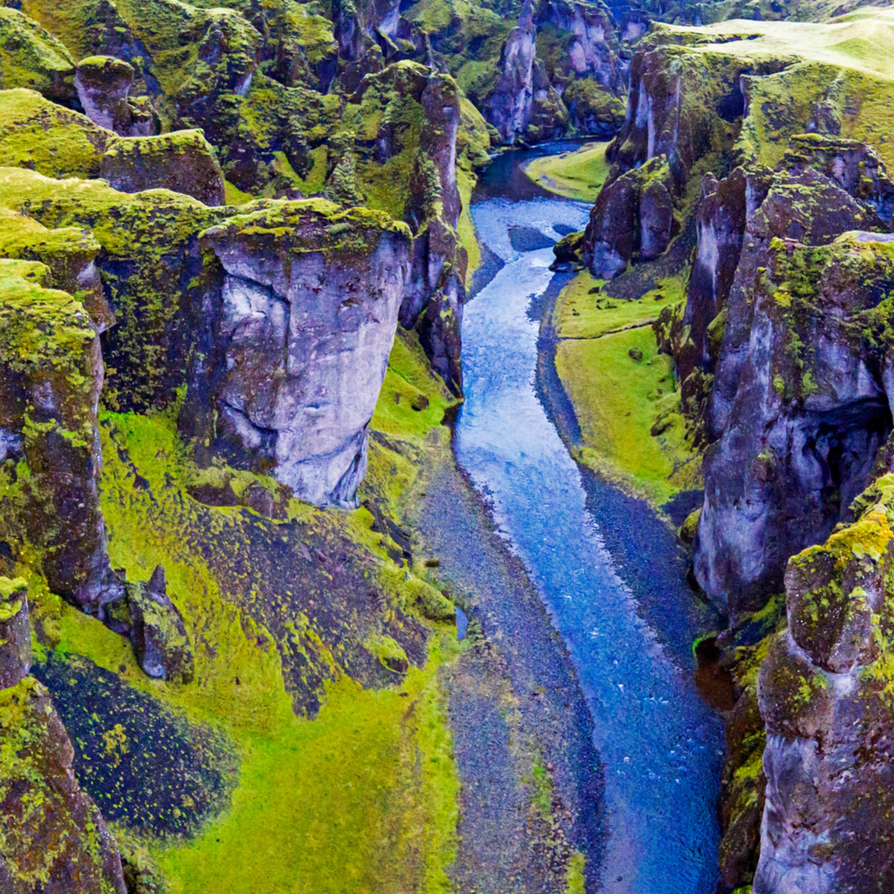 Fjadrargljufur canyon aerial pano na5ms0