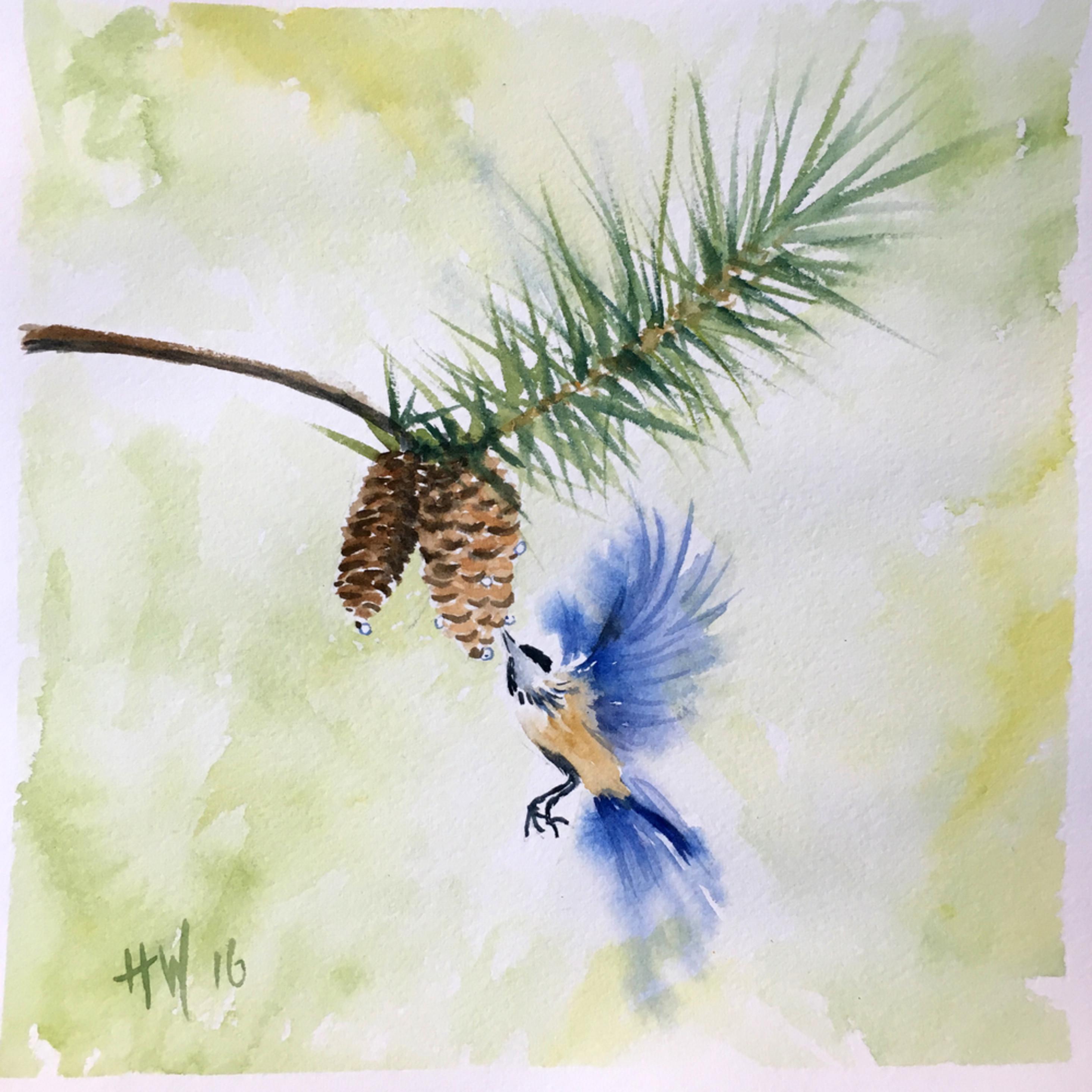 Bird and pine cone w2j2ue