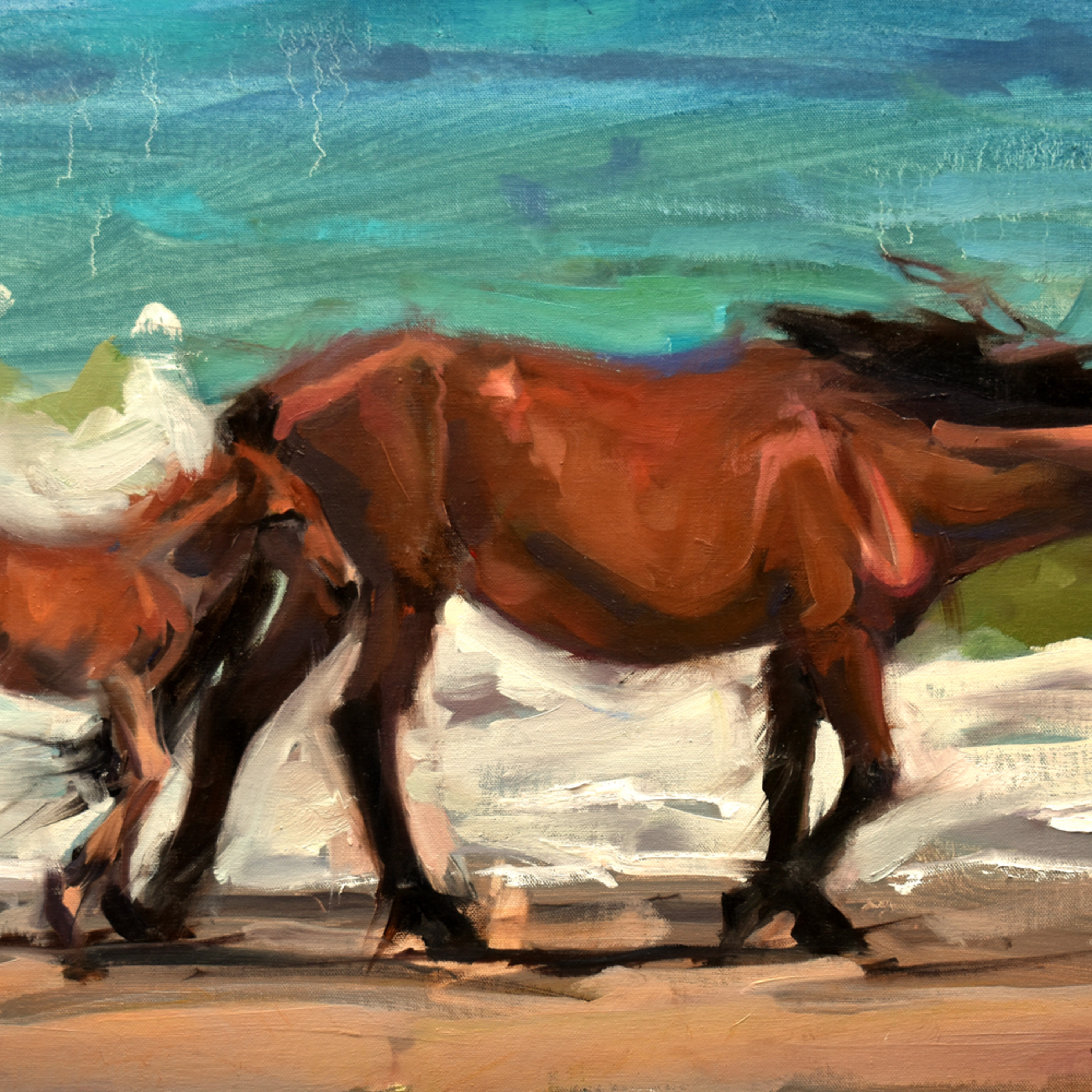 Walking the surf 24x17 oil 2020 hid46g