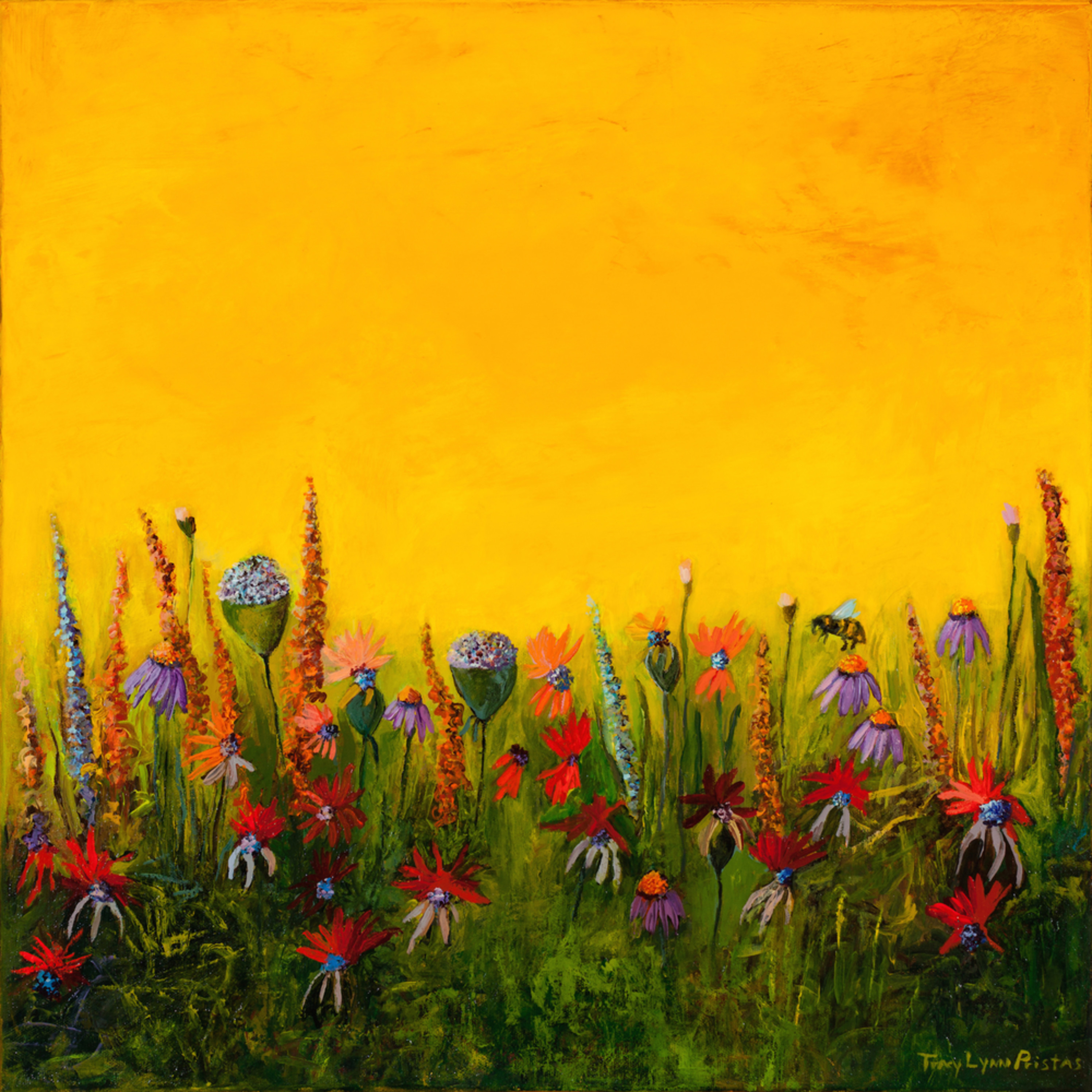 Wildflower art bee painting prints tracy lynn pristas brilliant wishes jpg nlffe2