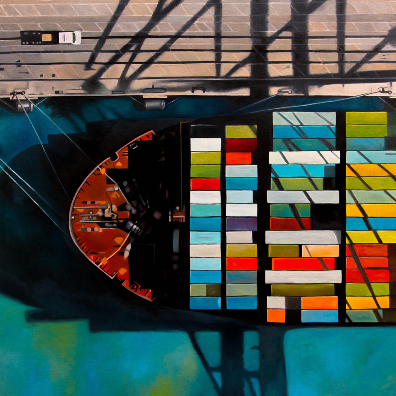 Antony squizzato dodge island 39 x 39 in oil on canvas 2200 jskr39