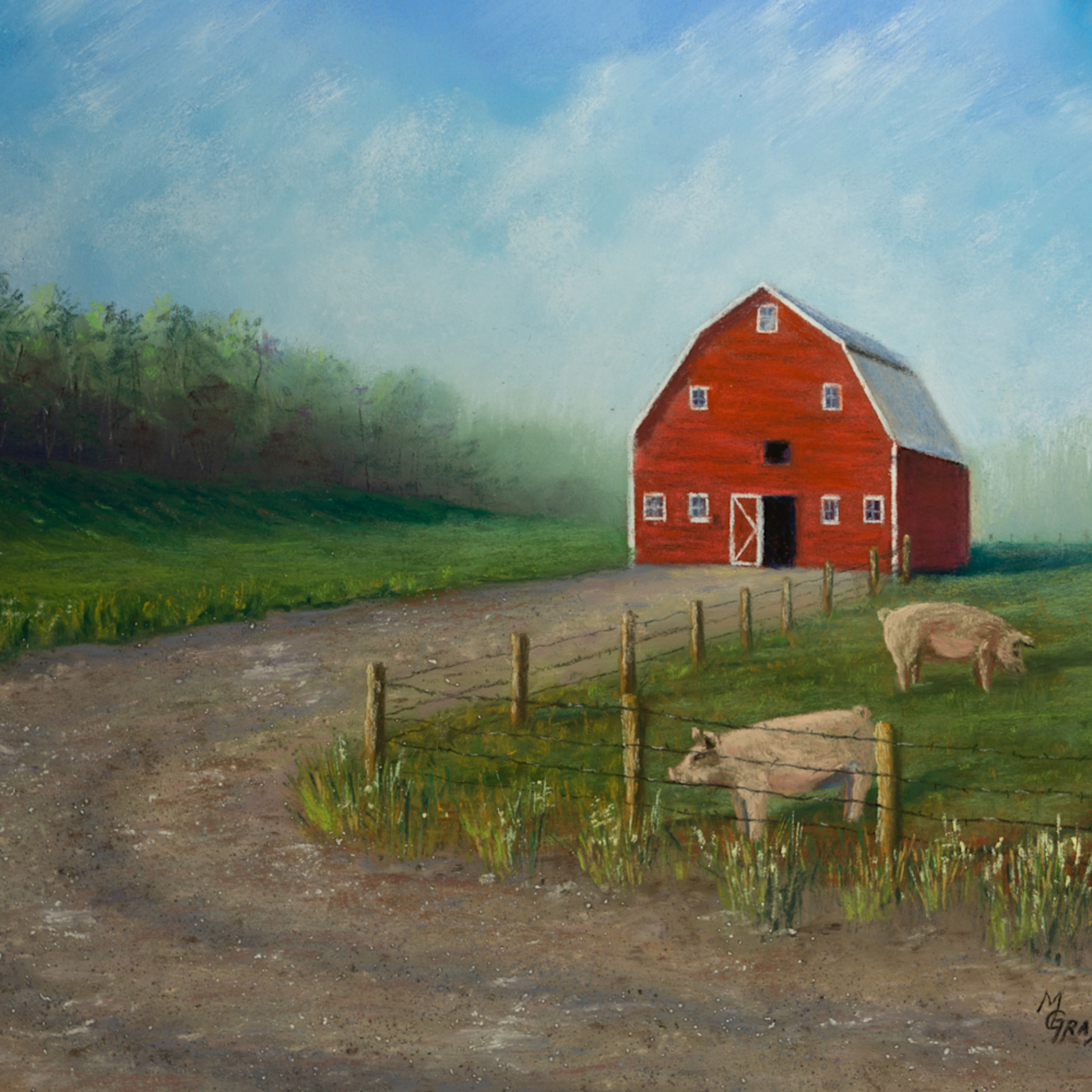 Red barn with pigs wxjbei