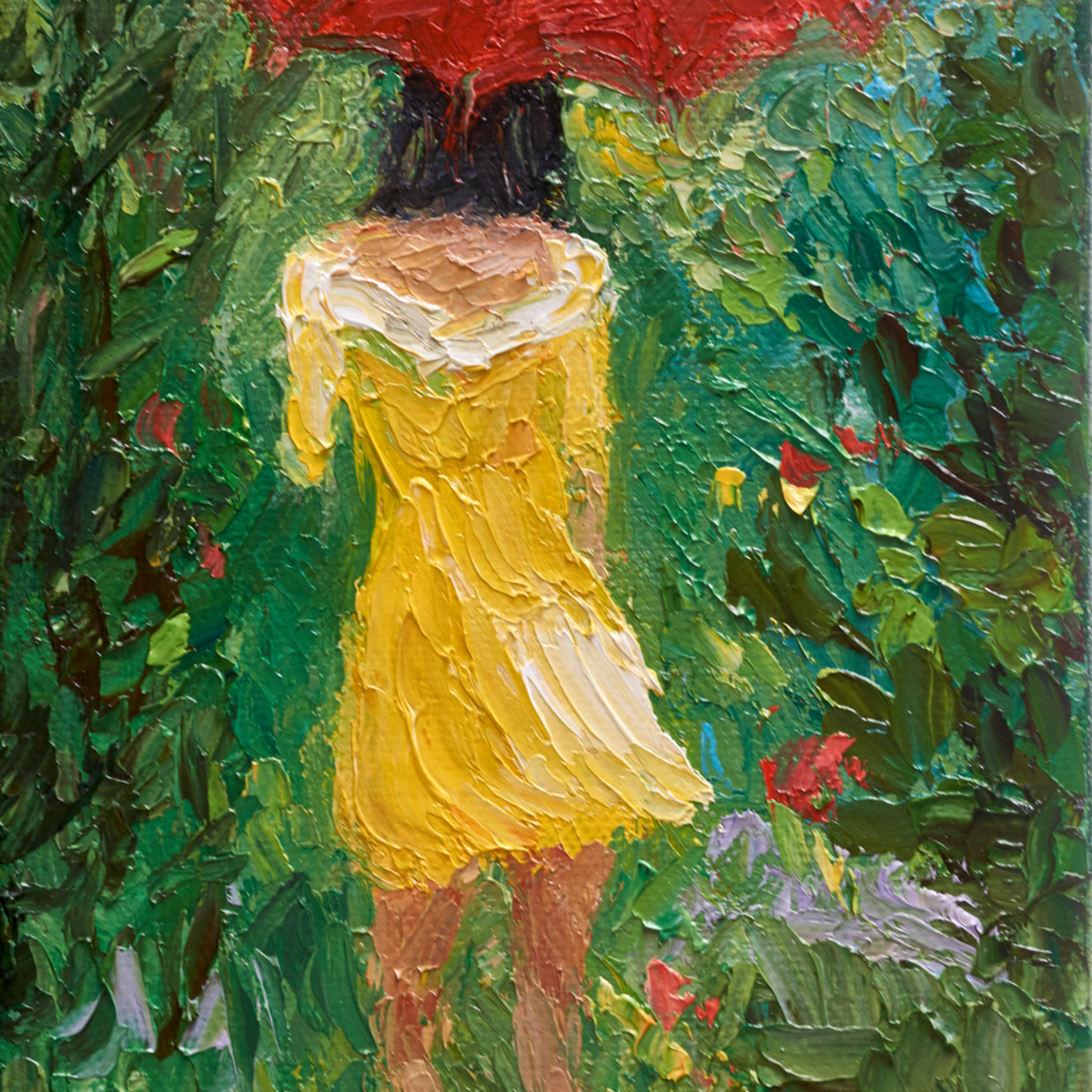 Umbrella girl yellow dress red umbrella kwbok4