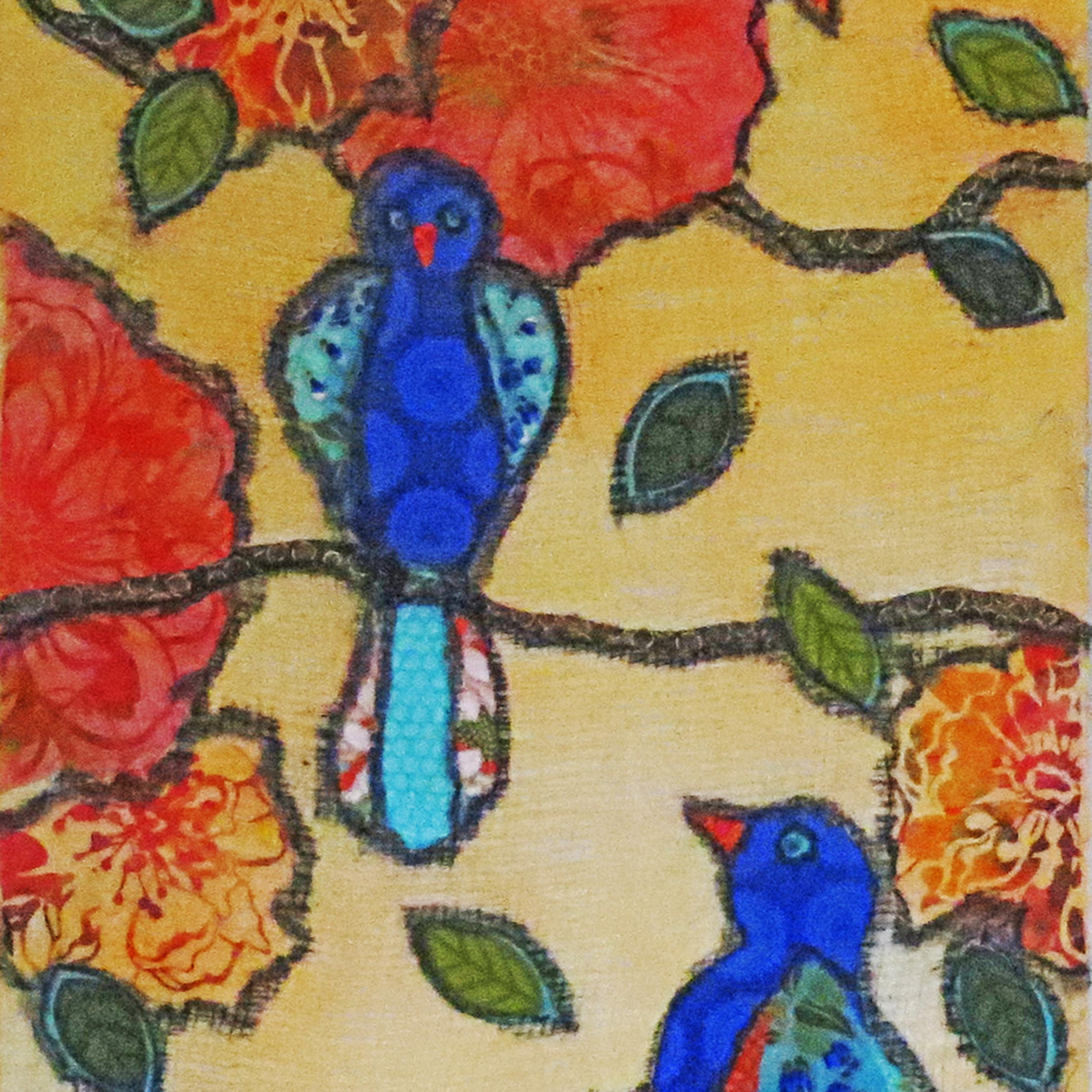 Garden birds and flowers tbqqcq