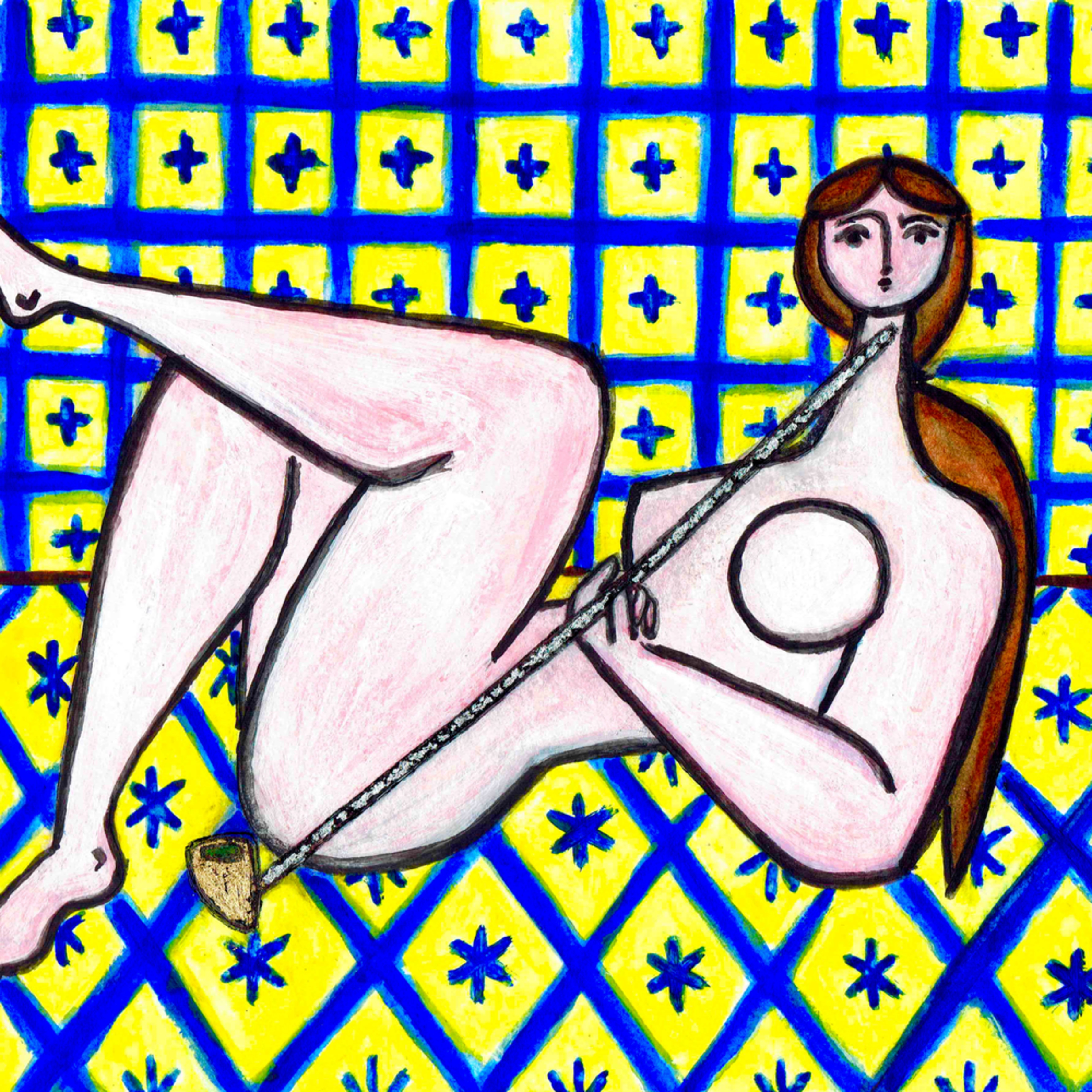 Nude with pipe in yellow and blue interior painting paul zepeda wet paint nyc tu2h6c