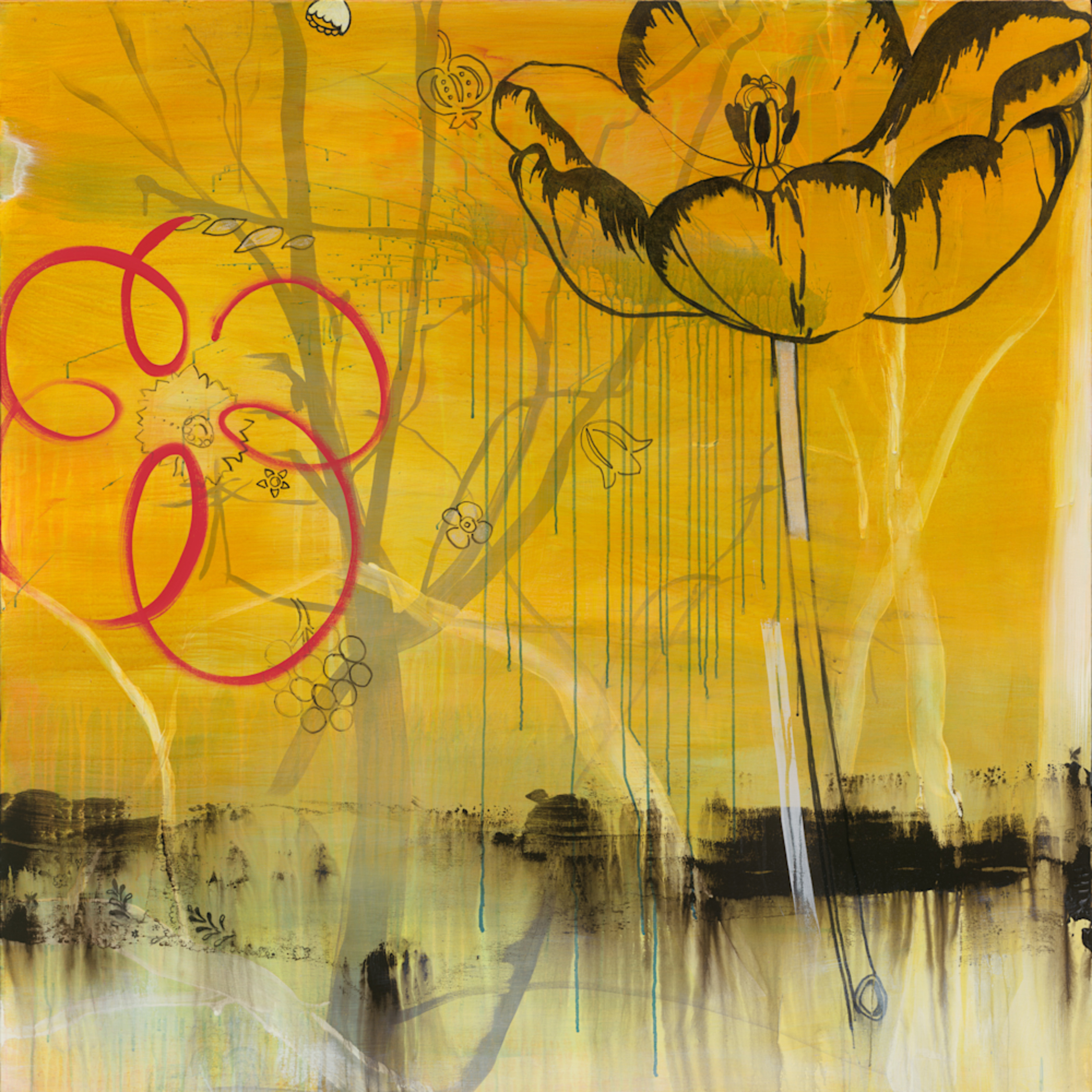 28 skyfield 15 dreaming of pancho villa 54x54 acrylic and charcoal on canvas 2009 jaap mrdobc
