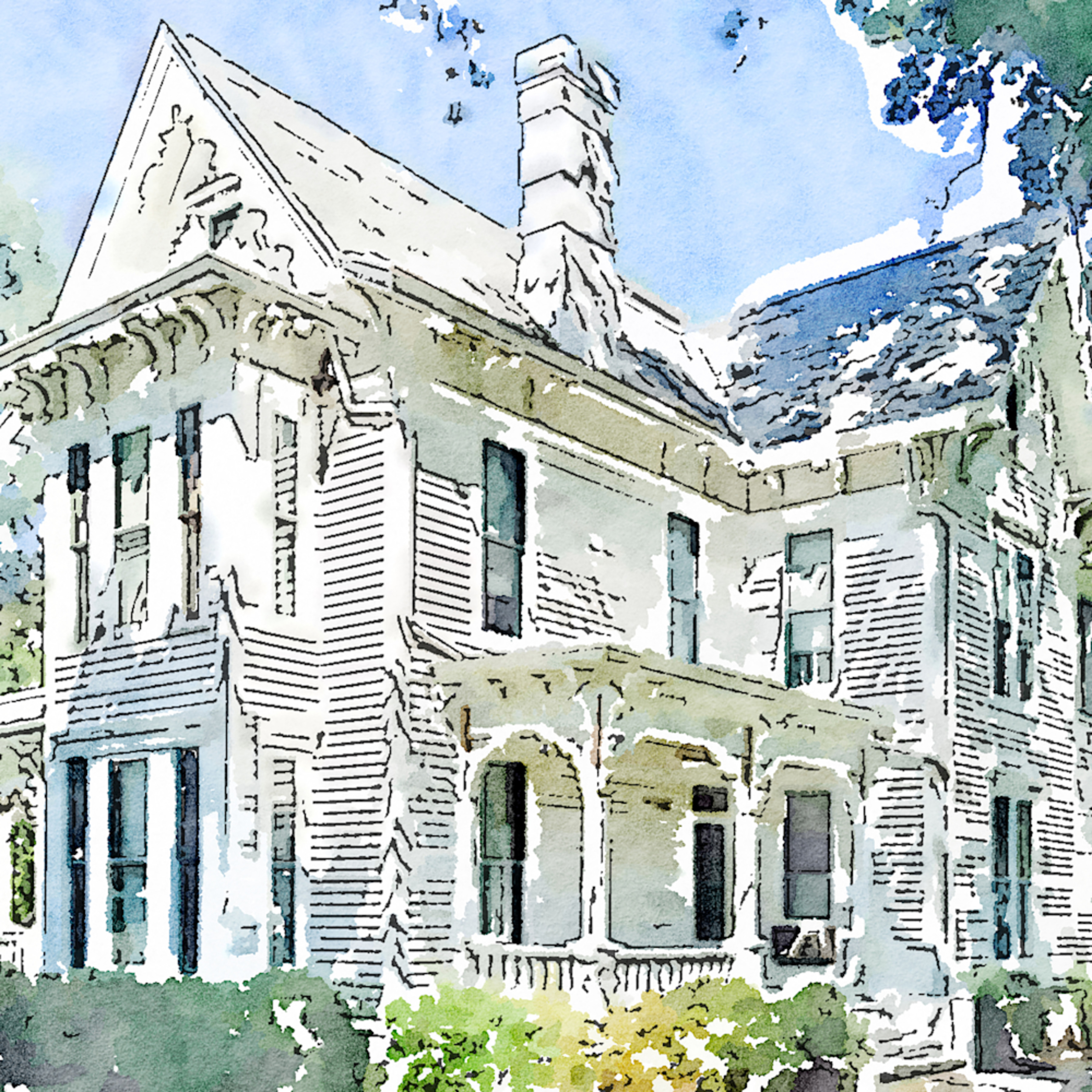 Truman home watercolor s2qccy