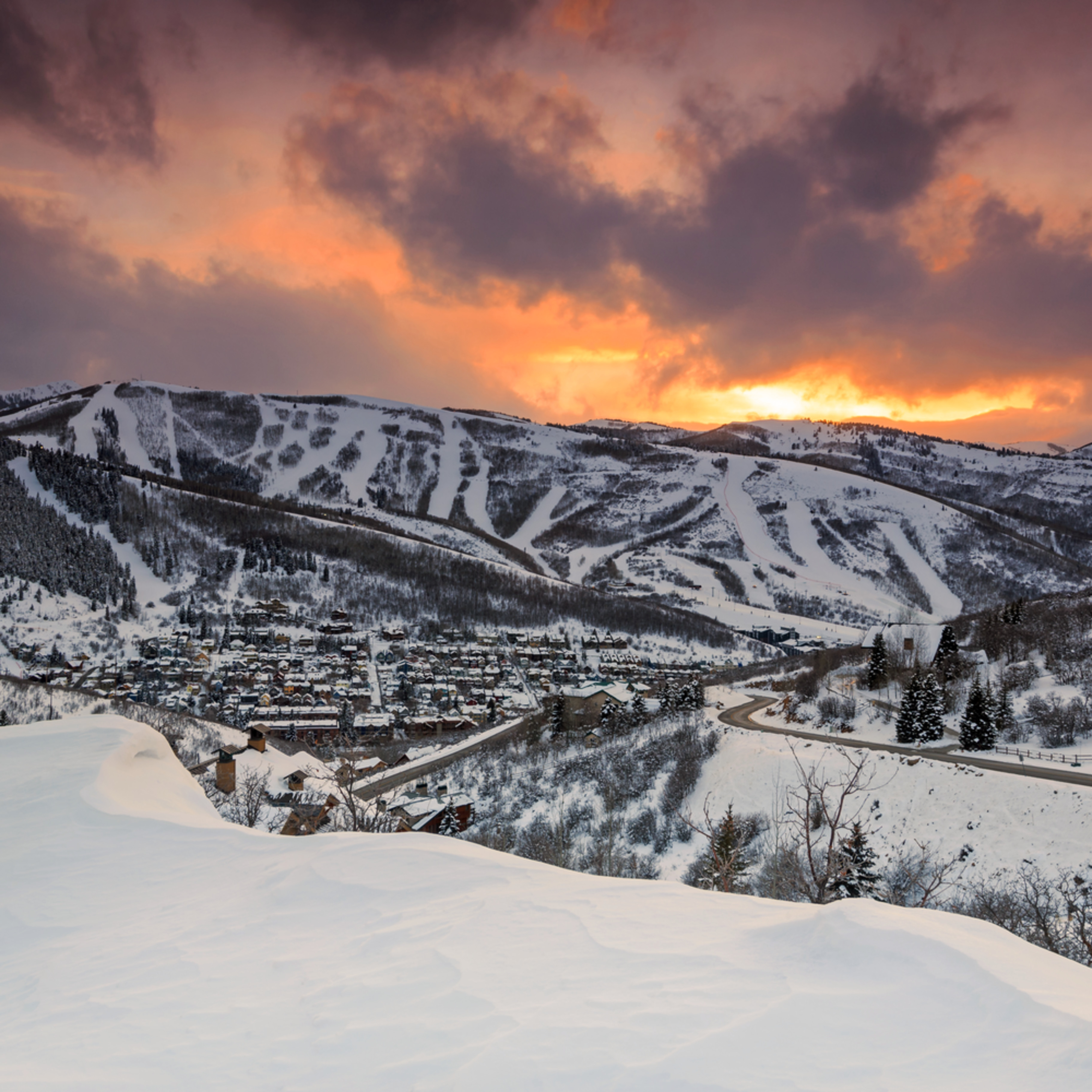 Park city winter sunset o03phx