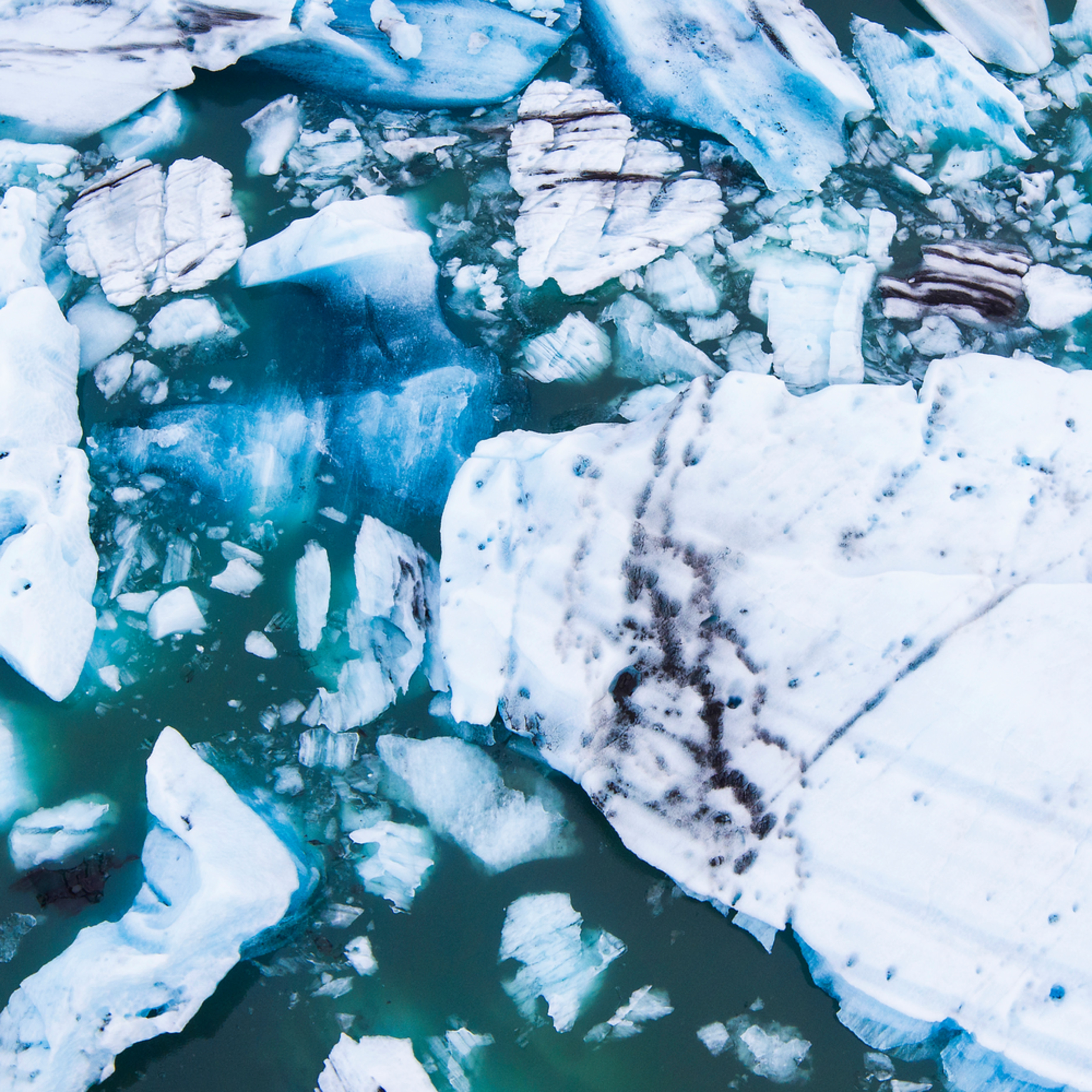 Jokulsarlon glacier lagoon ice aerial pano tvfgtd