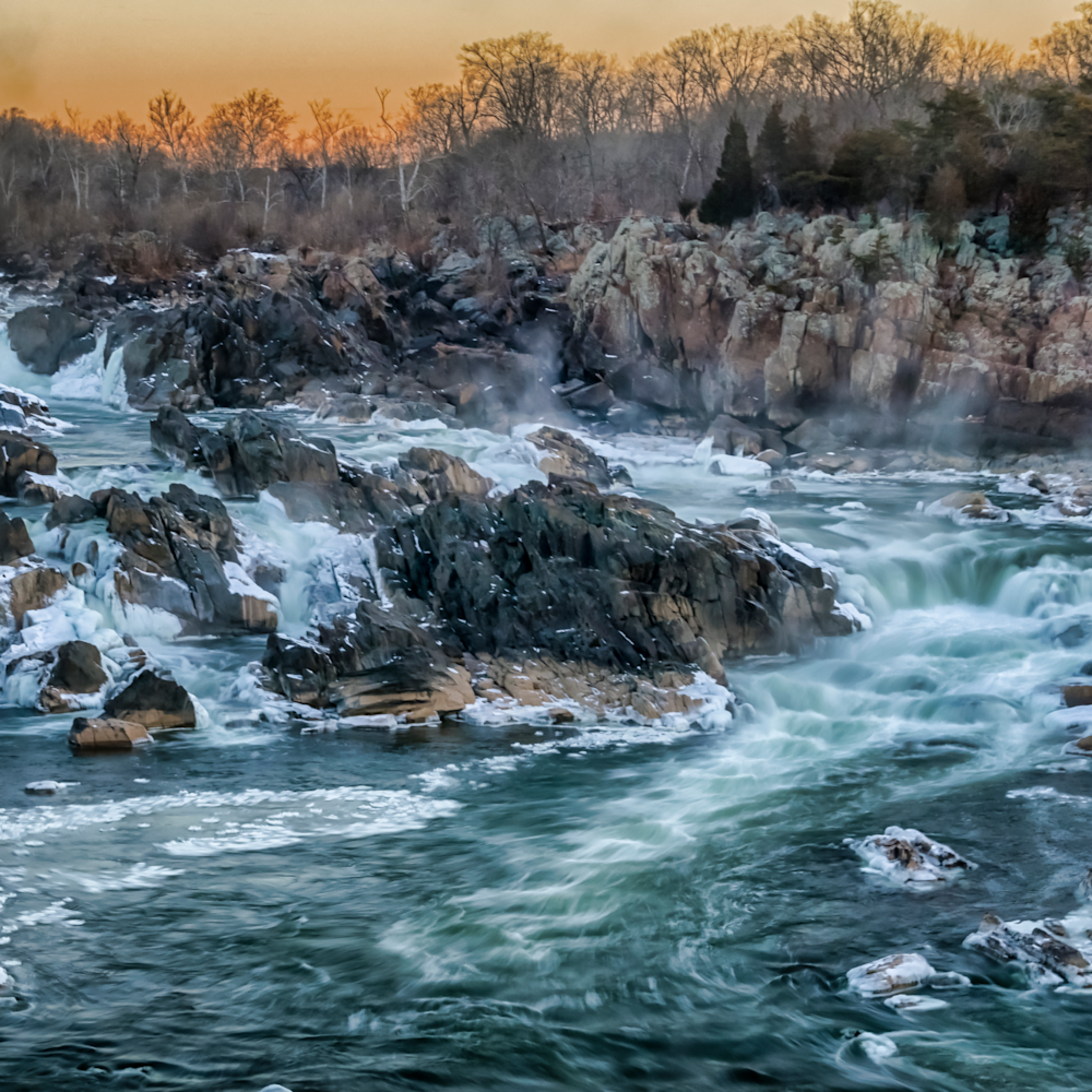 Great falls   icy morning glow 1 of 1 rk8jx0