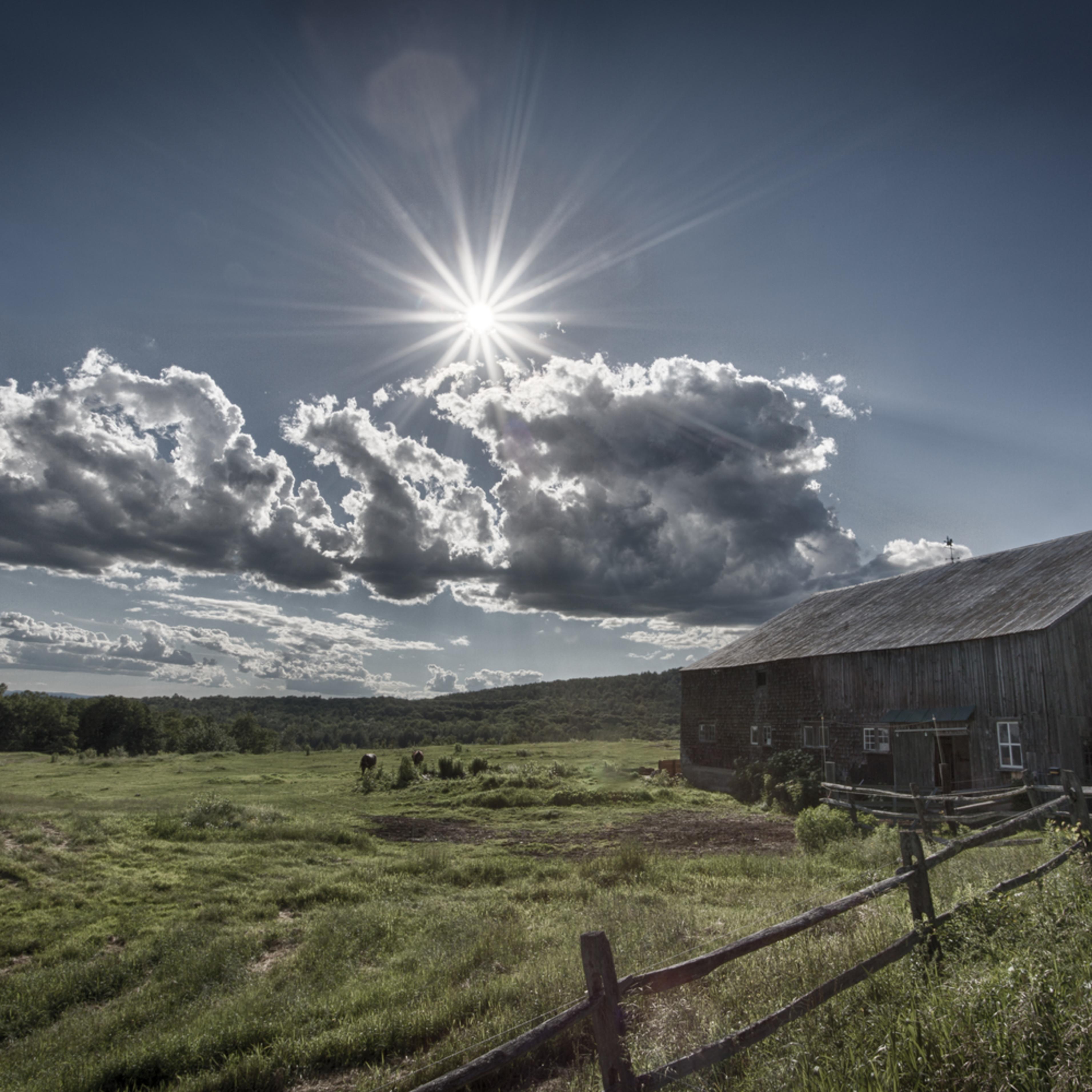 Summer sun rays on the barn sug32c