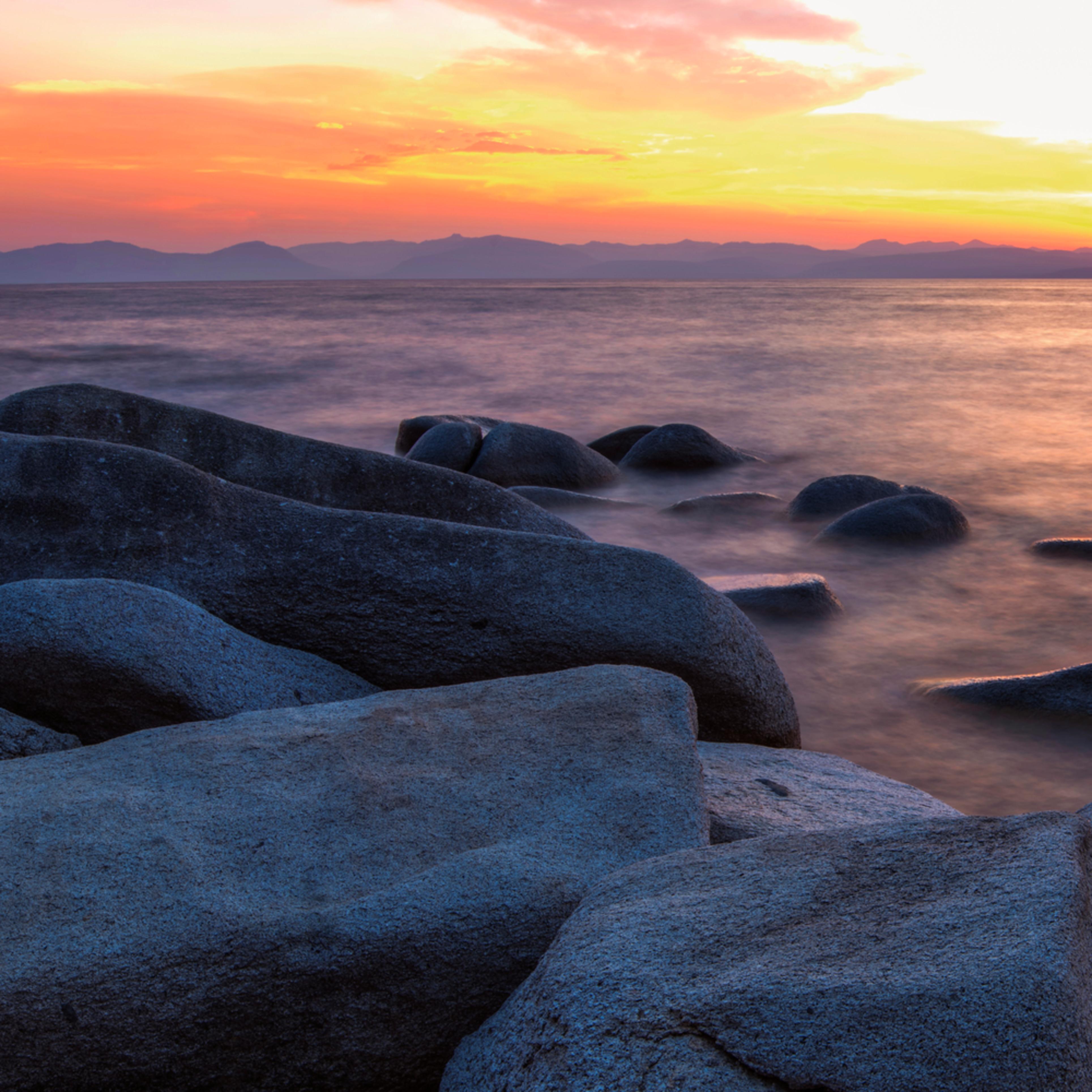 East shore rocks sunset pano fegirm