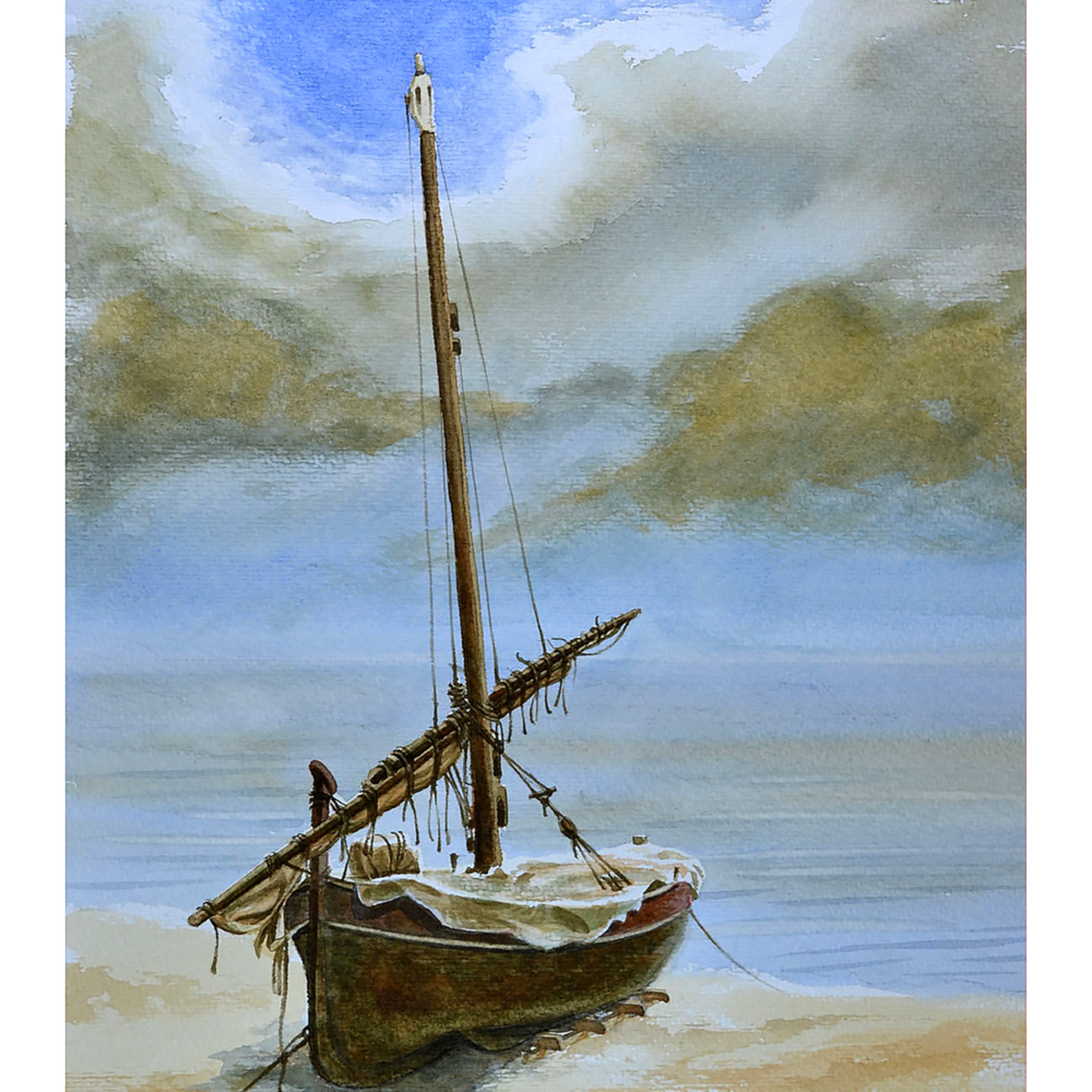 Rustic salboat on beach kluhqo