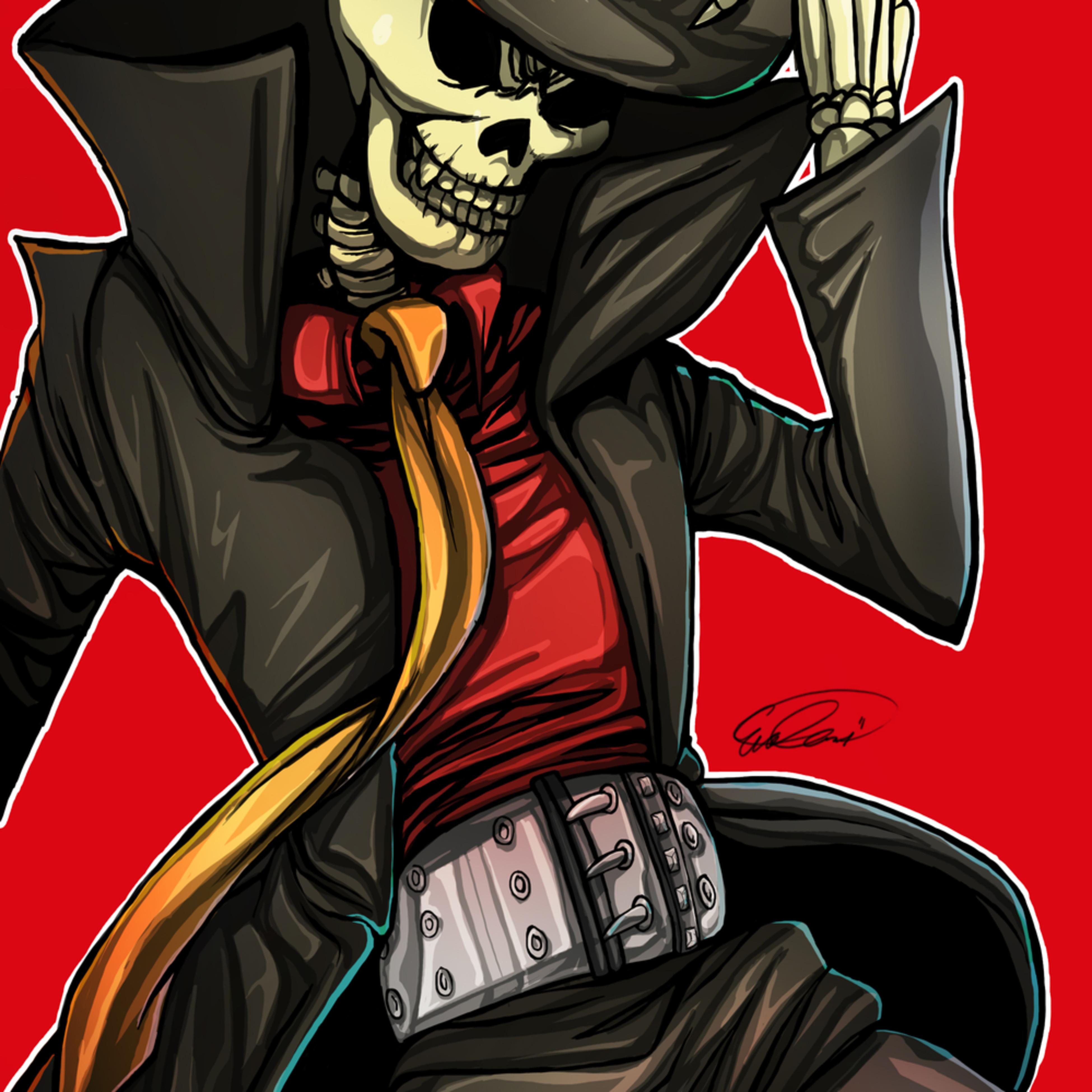 Skull hat man 13x19 bwfawn