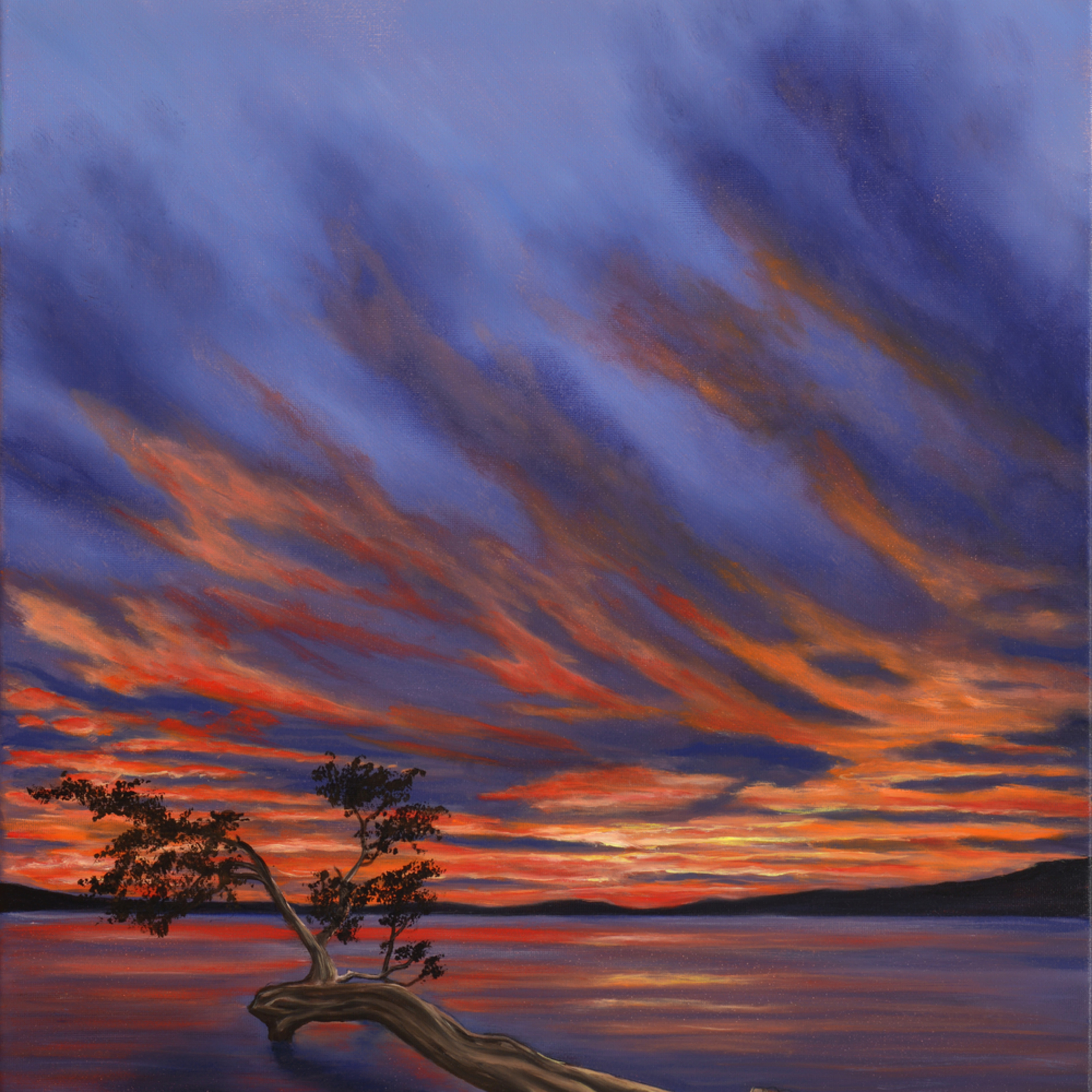 16  lake sunset oil on canvas by monica marquez gatica mmg art studio fjnqjd