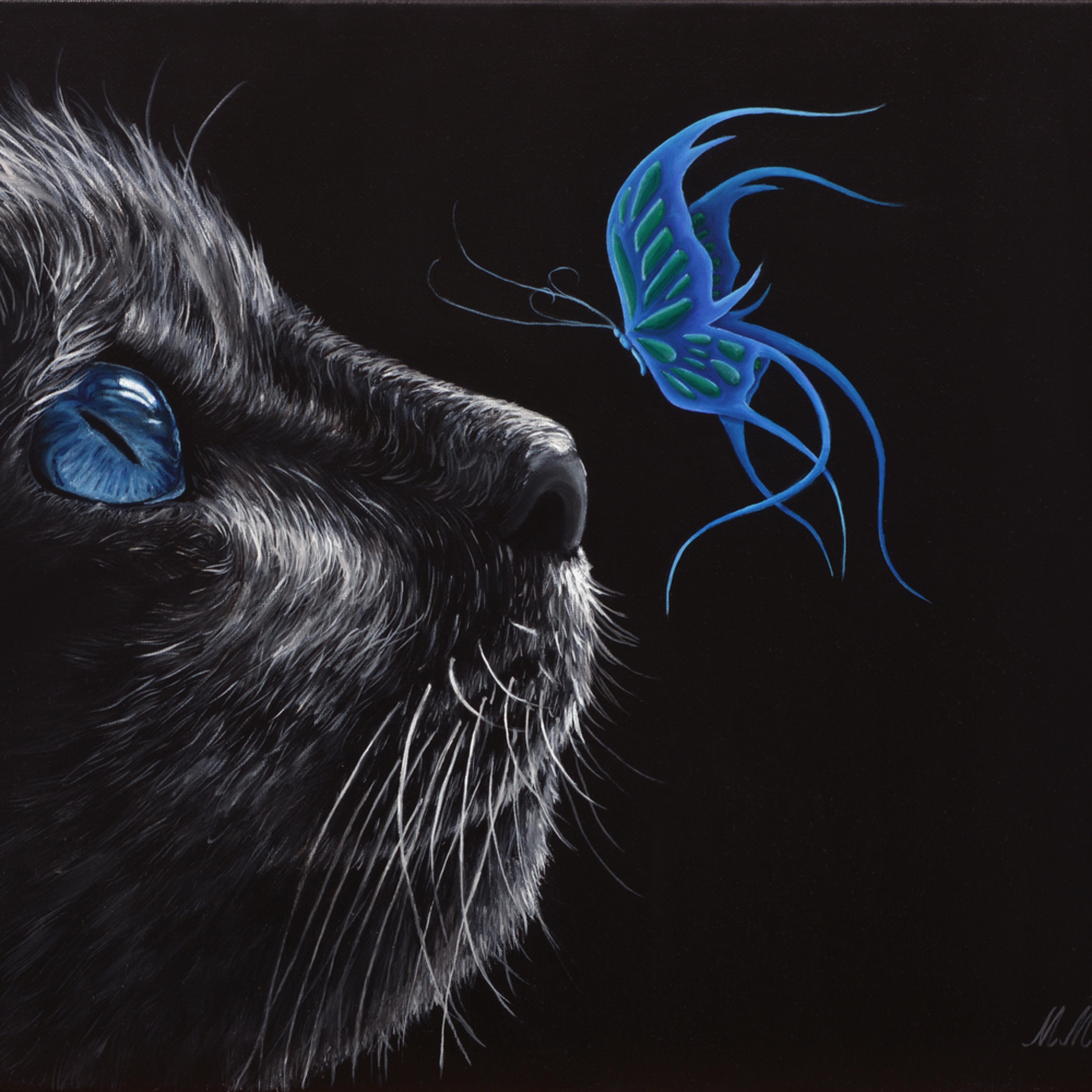 17  mystical cat oil on canvas by monica marquez gatica mmg art studio jvtpyo