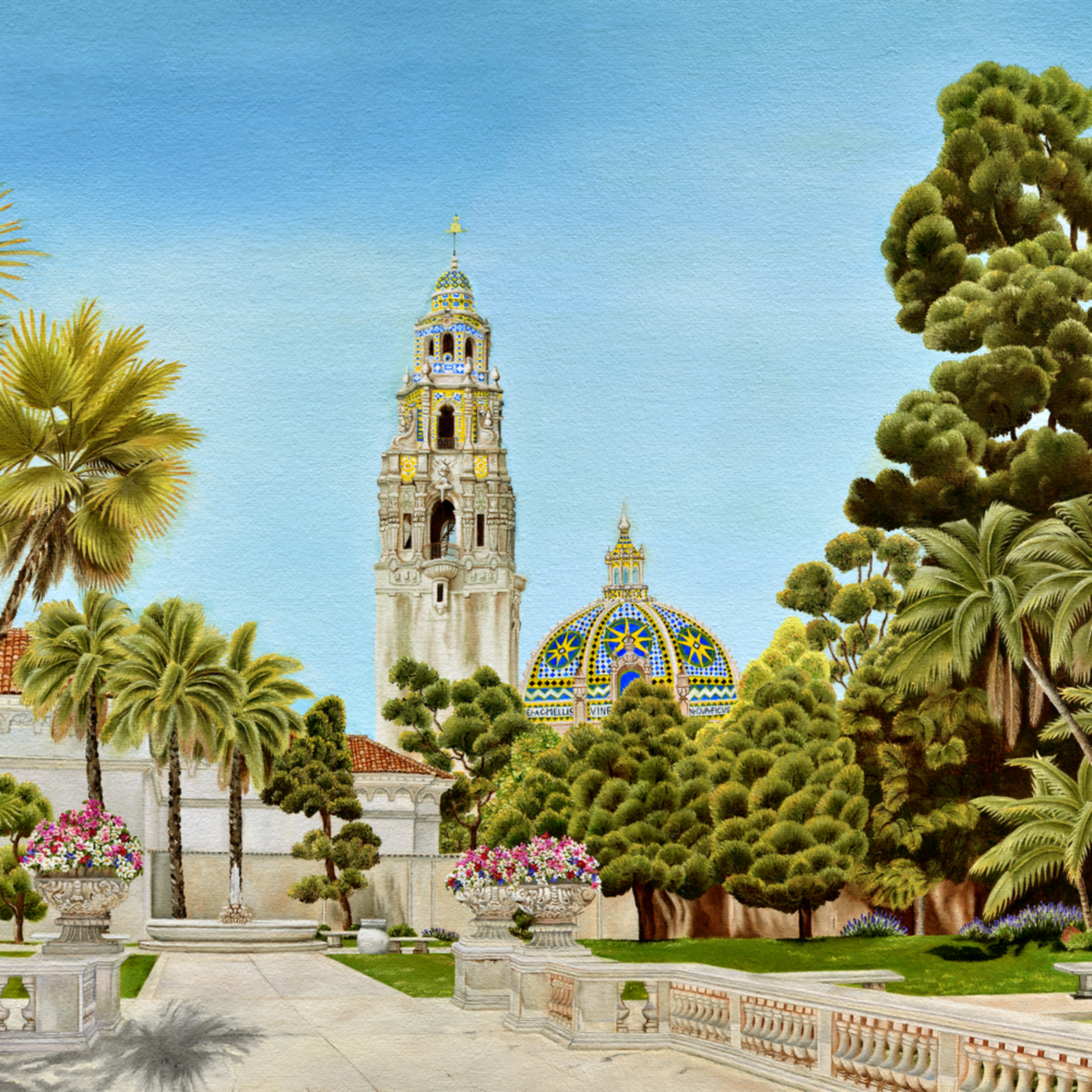 Balboapark centenialtribute the calif tower and the bell tower dome w sig  a162lt