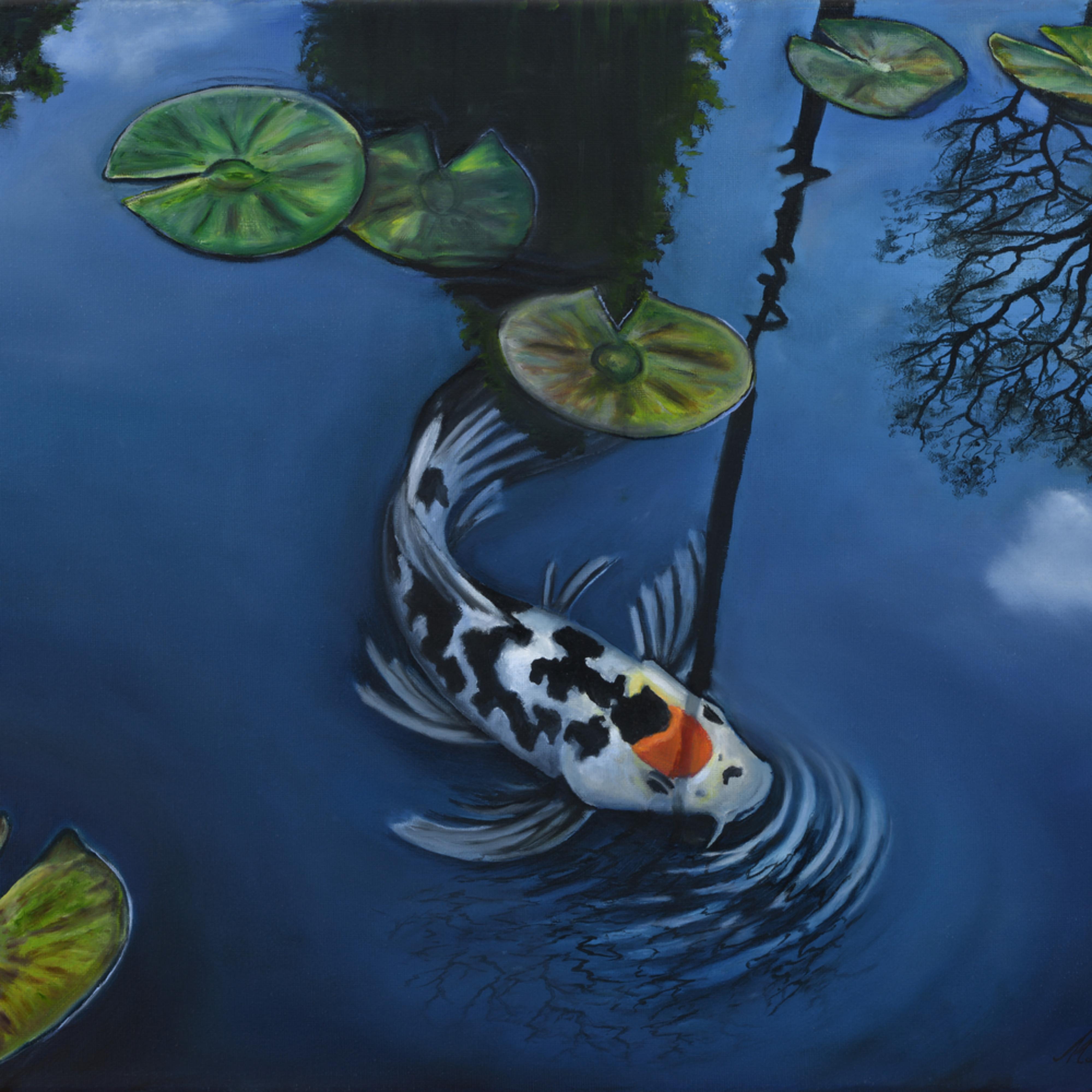 34  koi pond oil on canvas by monica marquez gatica mmg art studio thh5ib