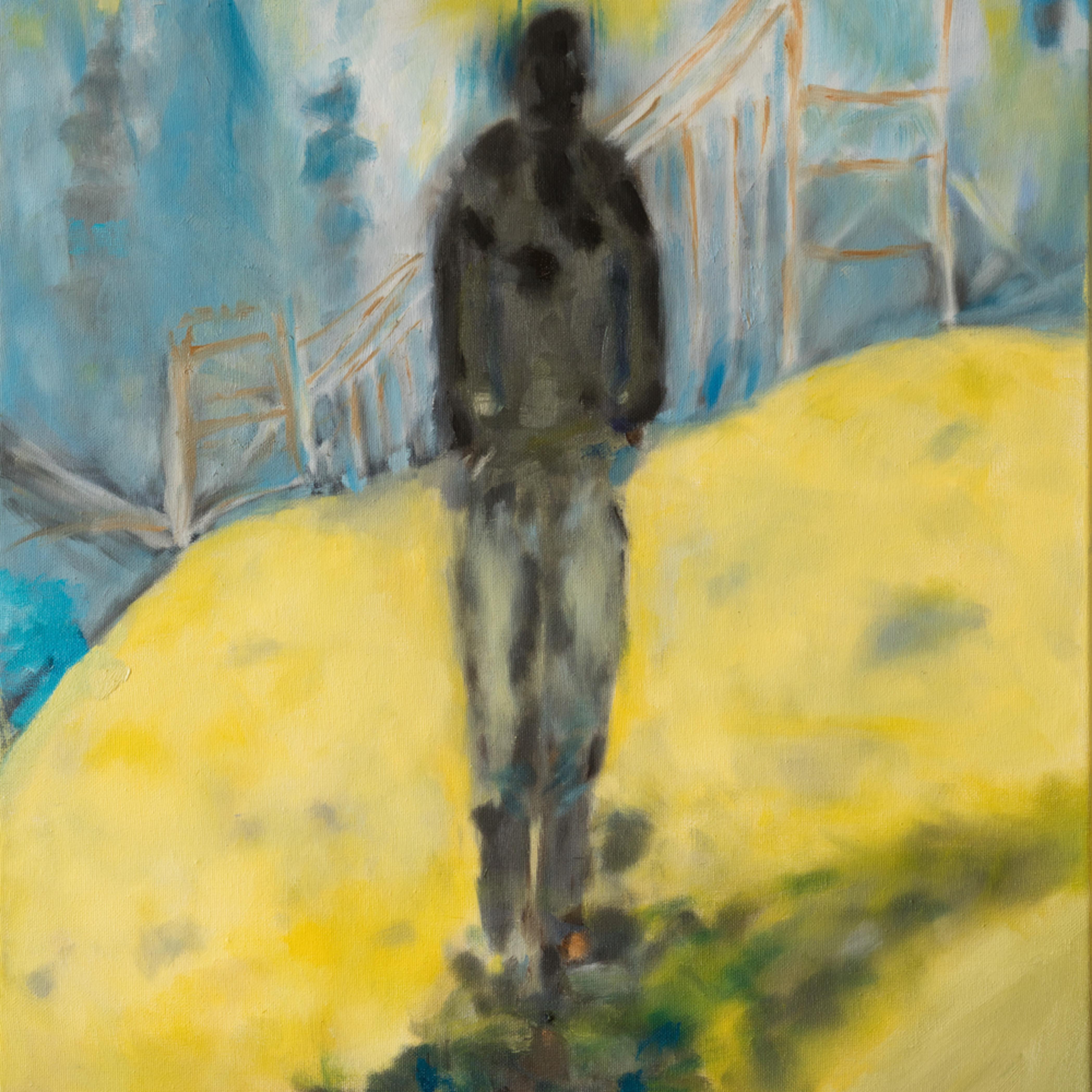 Man walking away from the bridge  ane howard paintings 08 zgae3b