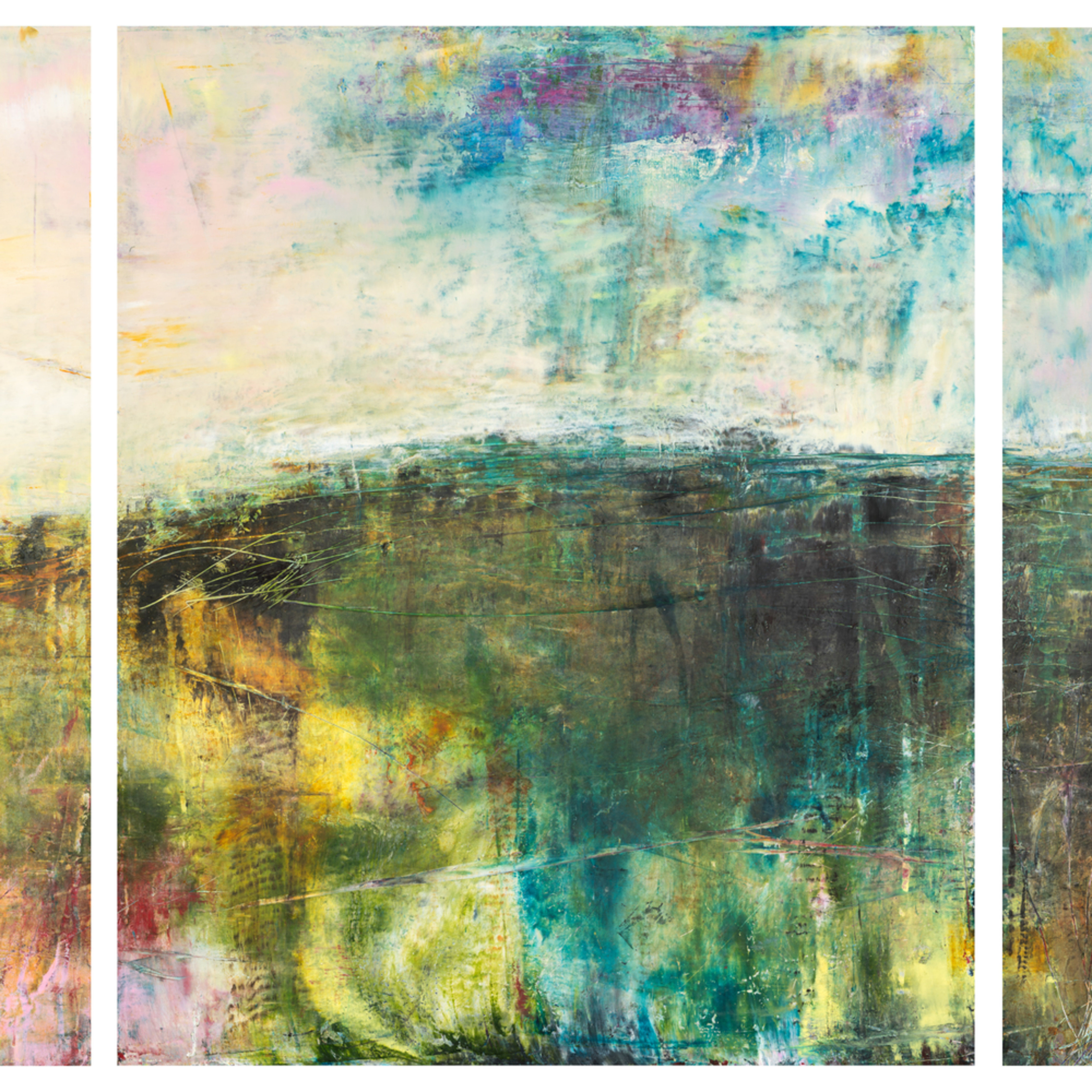 Eadaoin glynn 2019 land triptych oil cold wax on cradled panel 60x150cm gaps hires wukn5c