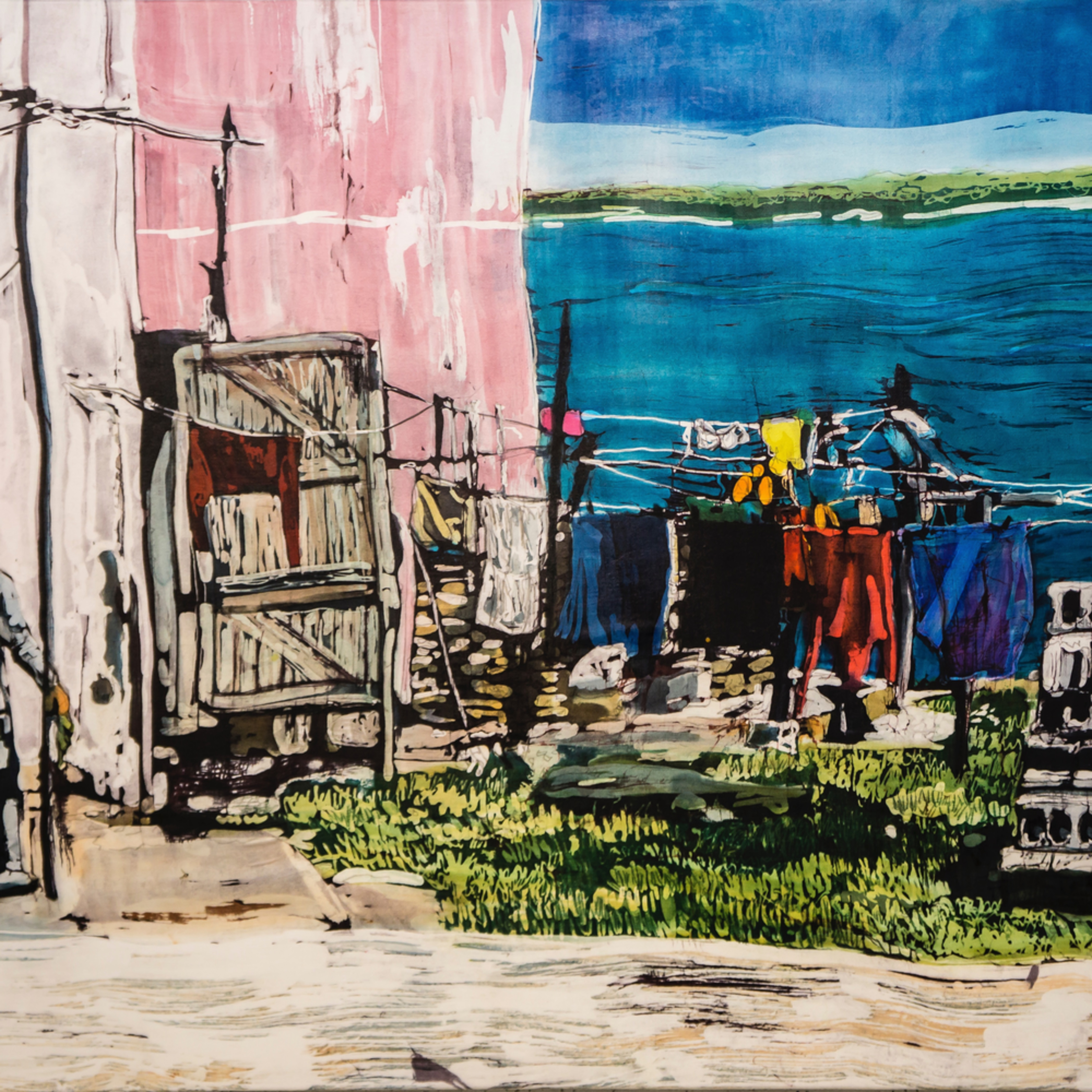 Mcg 166 muffy clark gill wash day gibara bay  rozome on silk 24 x 36 in jop1nf